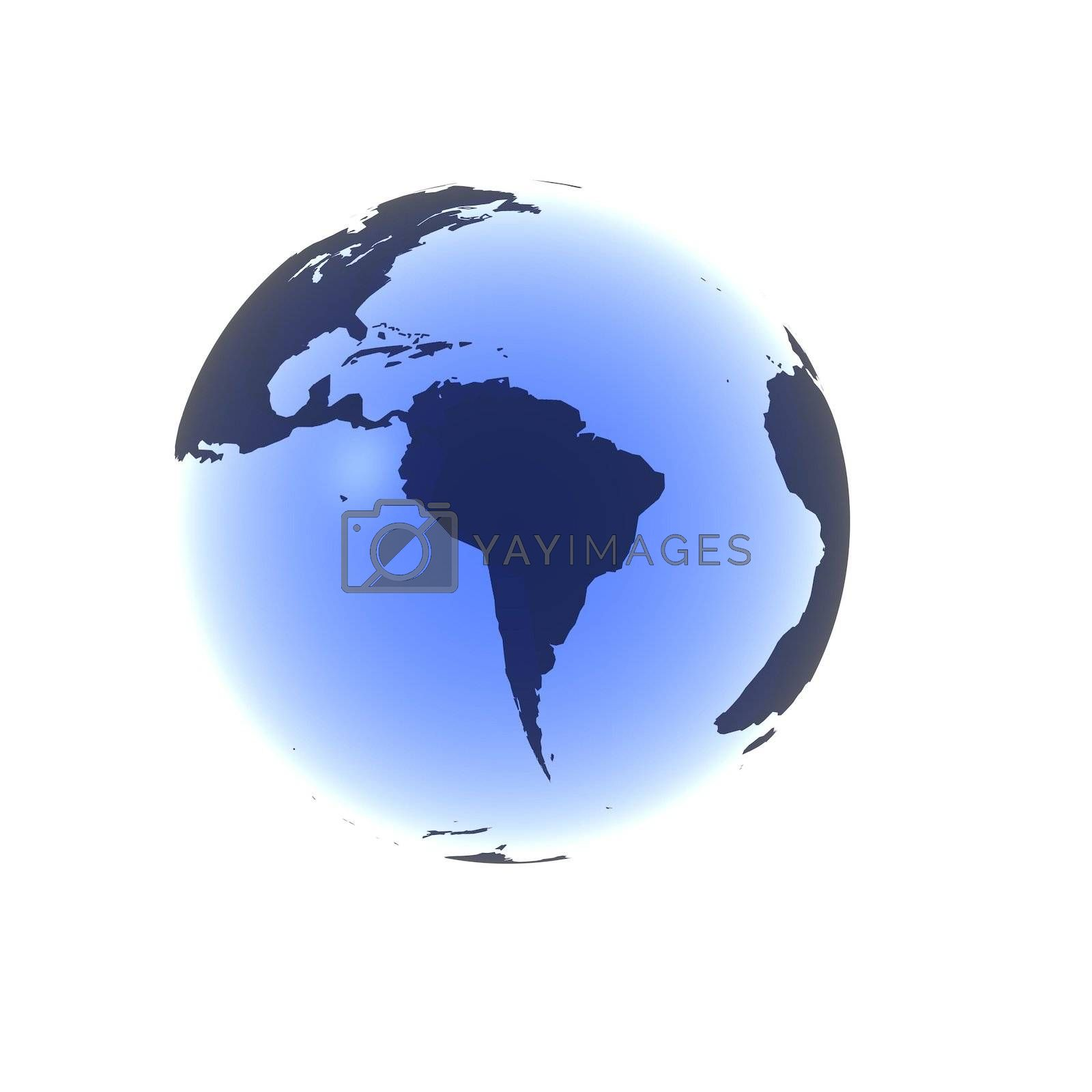A globe with South America rendered in a soft blue gel.