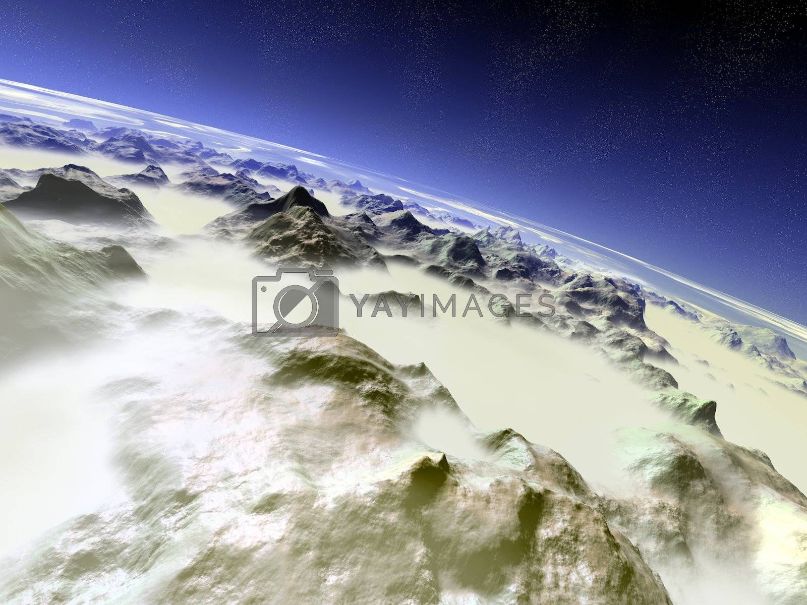 3D rendered Illustration. 7000m above the mountains.