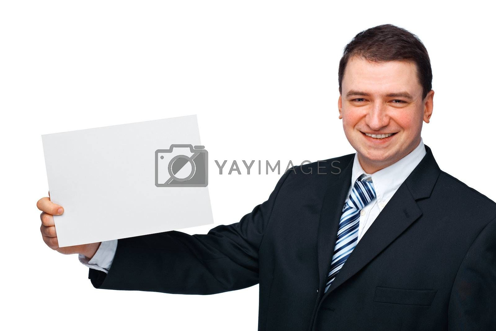 A successful happy business executive holding an empty billboard