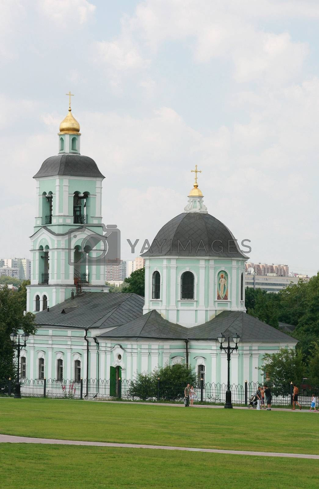 Christian church with gold domes in Moscow