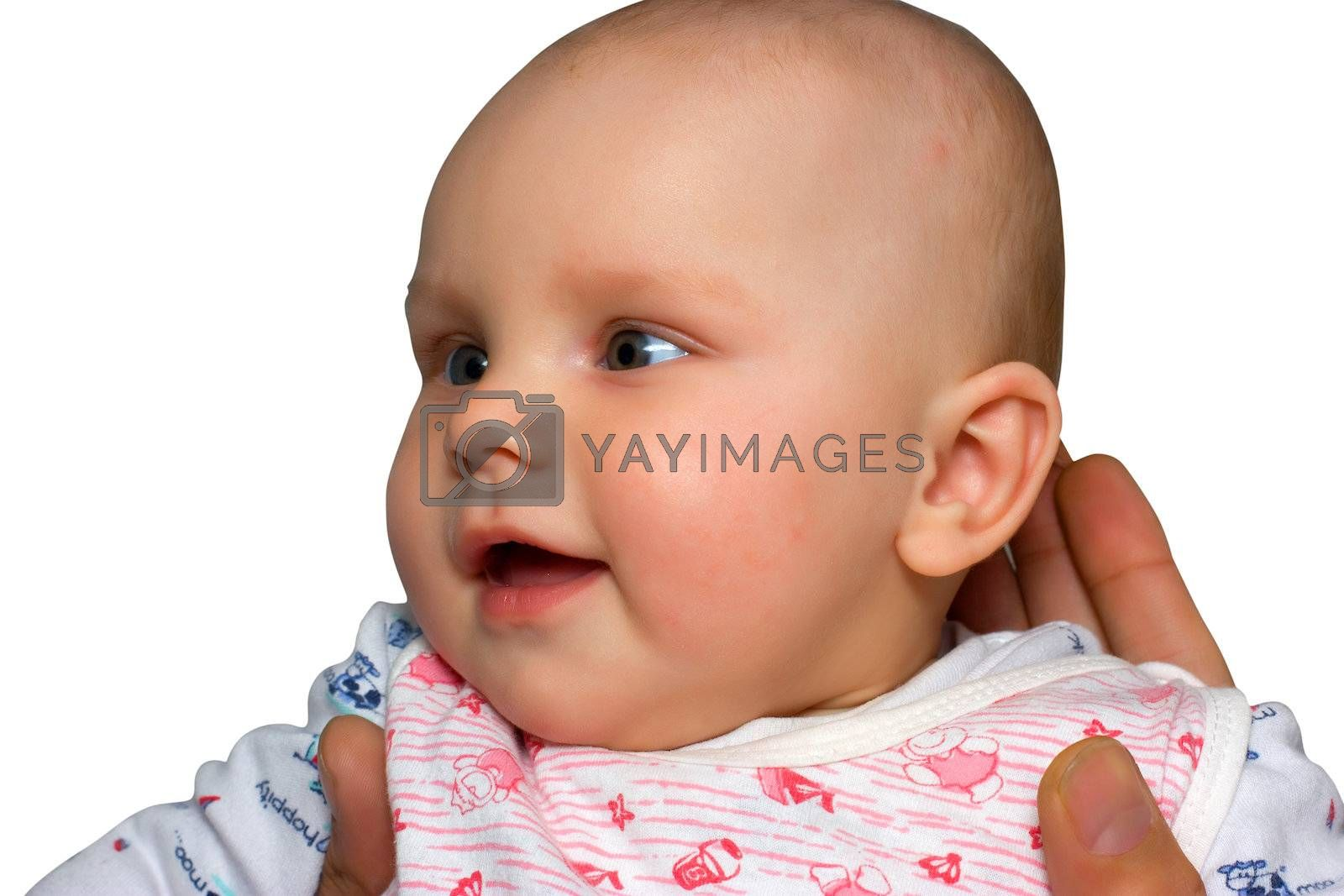 Little girl smiling be a hands