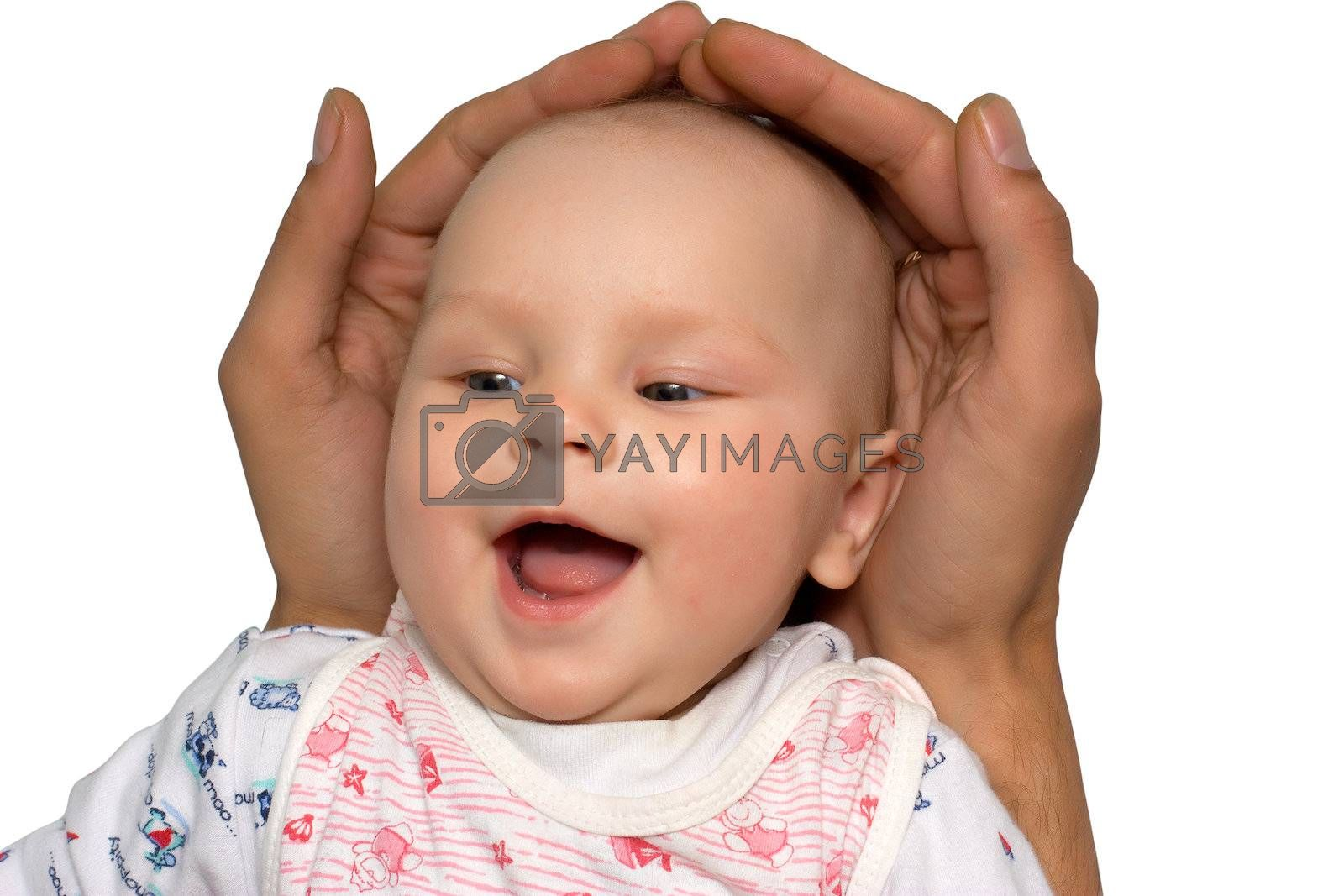 Little girl in father's hands with clipping path