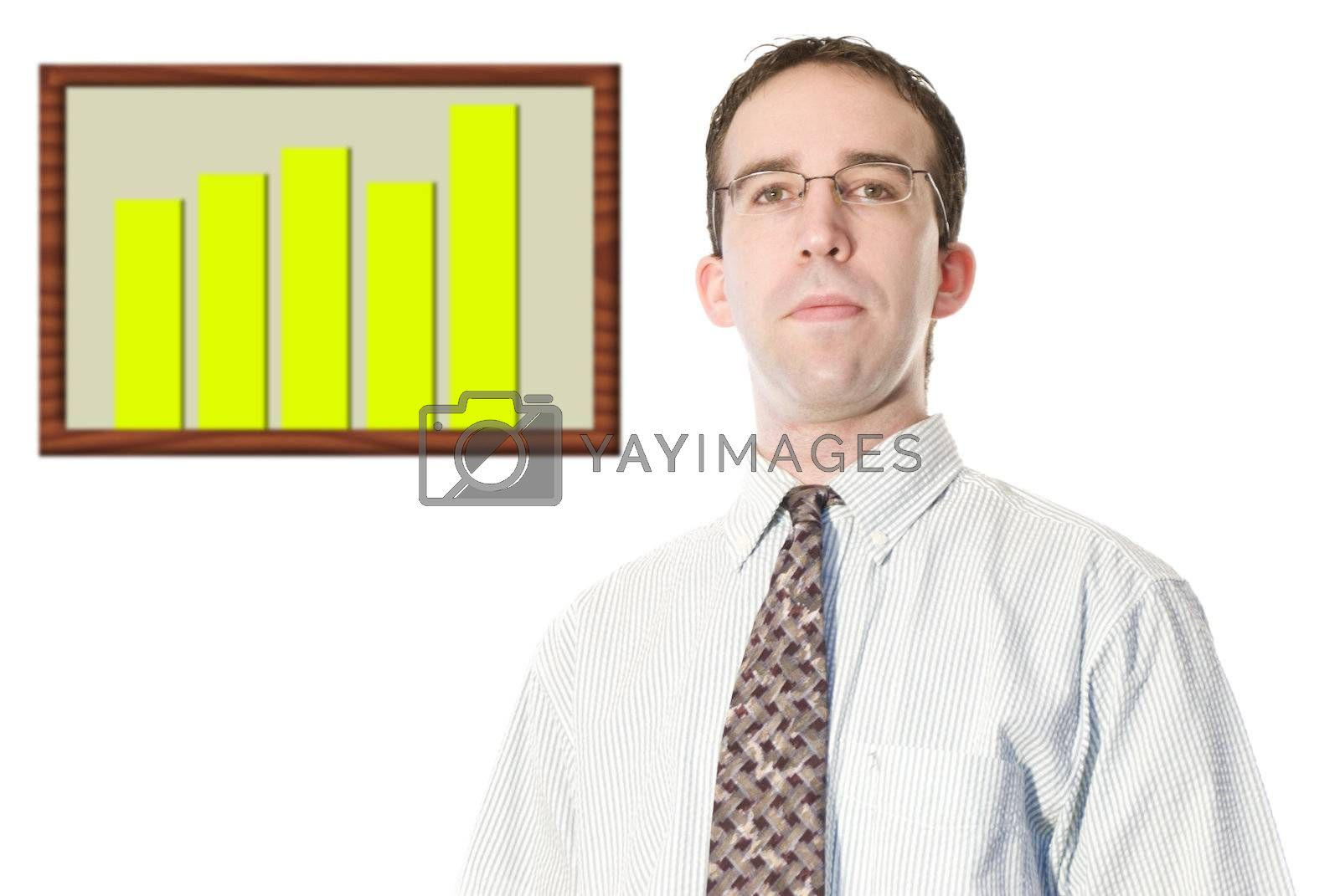 A young businessman wearing a dress shirt and tie, standing beside a graph to represent financial growth.