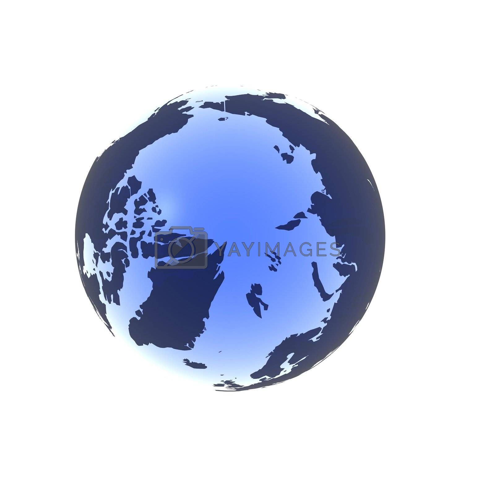 A globe rendered in a soft blue gel looking down at the north pole