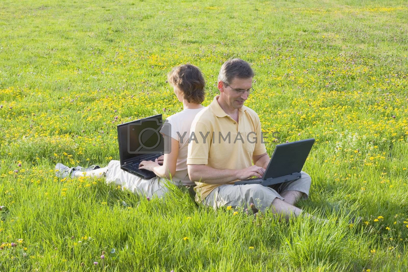 Couple sitting in meadow while working with laptops