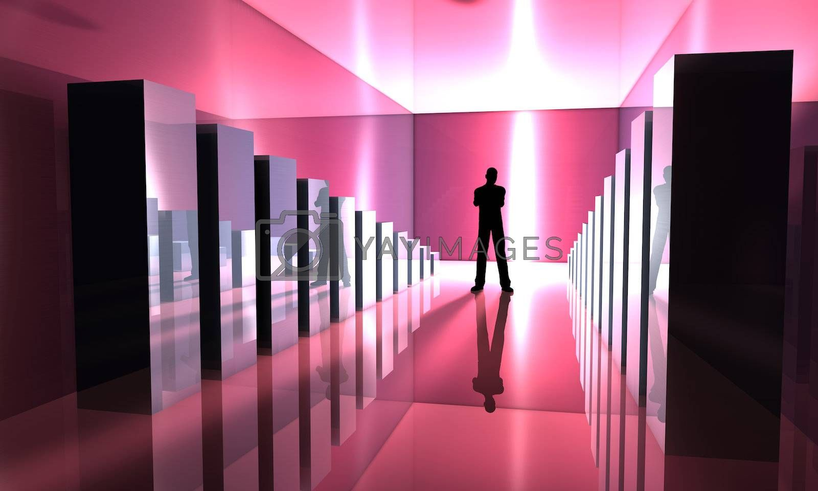 3D rendered Illustration. A Man standing inbetween growing Charts.