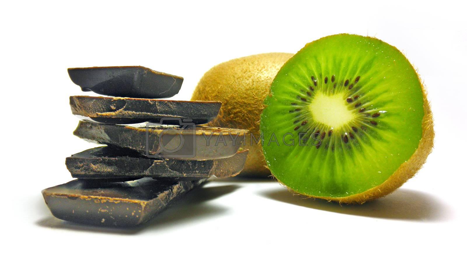 chocolate with kiwi isolated on white background