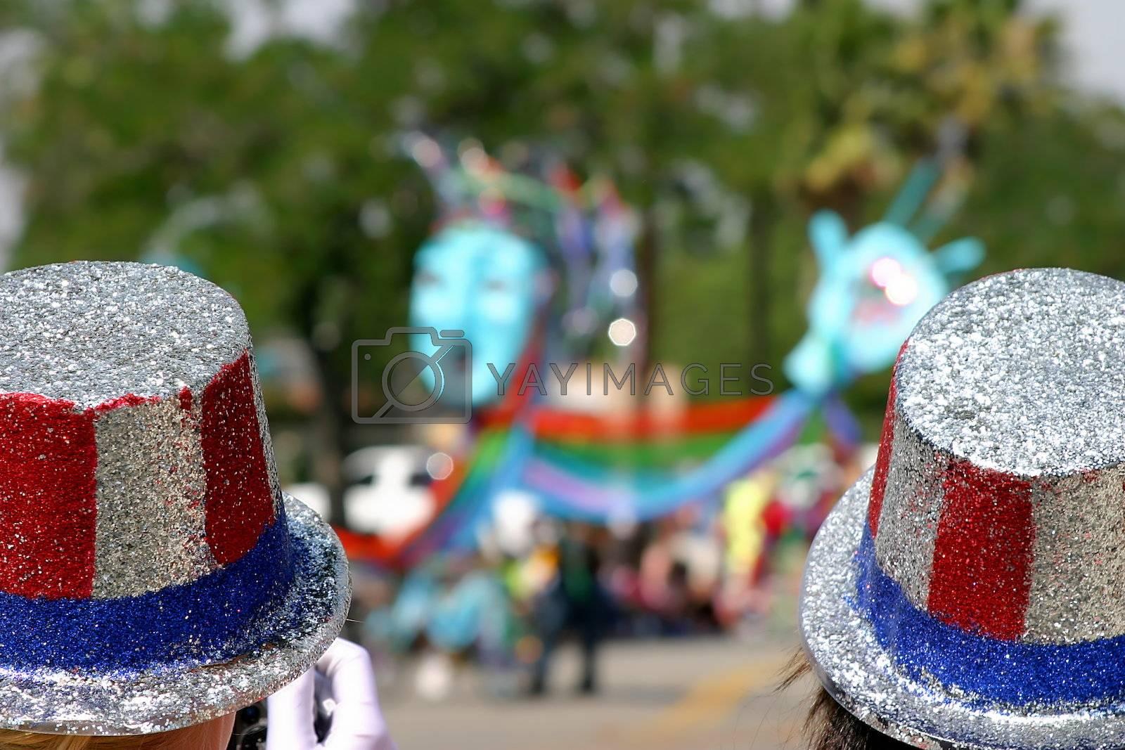 Two usa patriotic hats at a 4th o July parade in Ojai, California