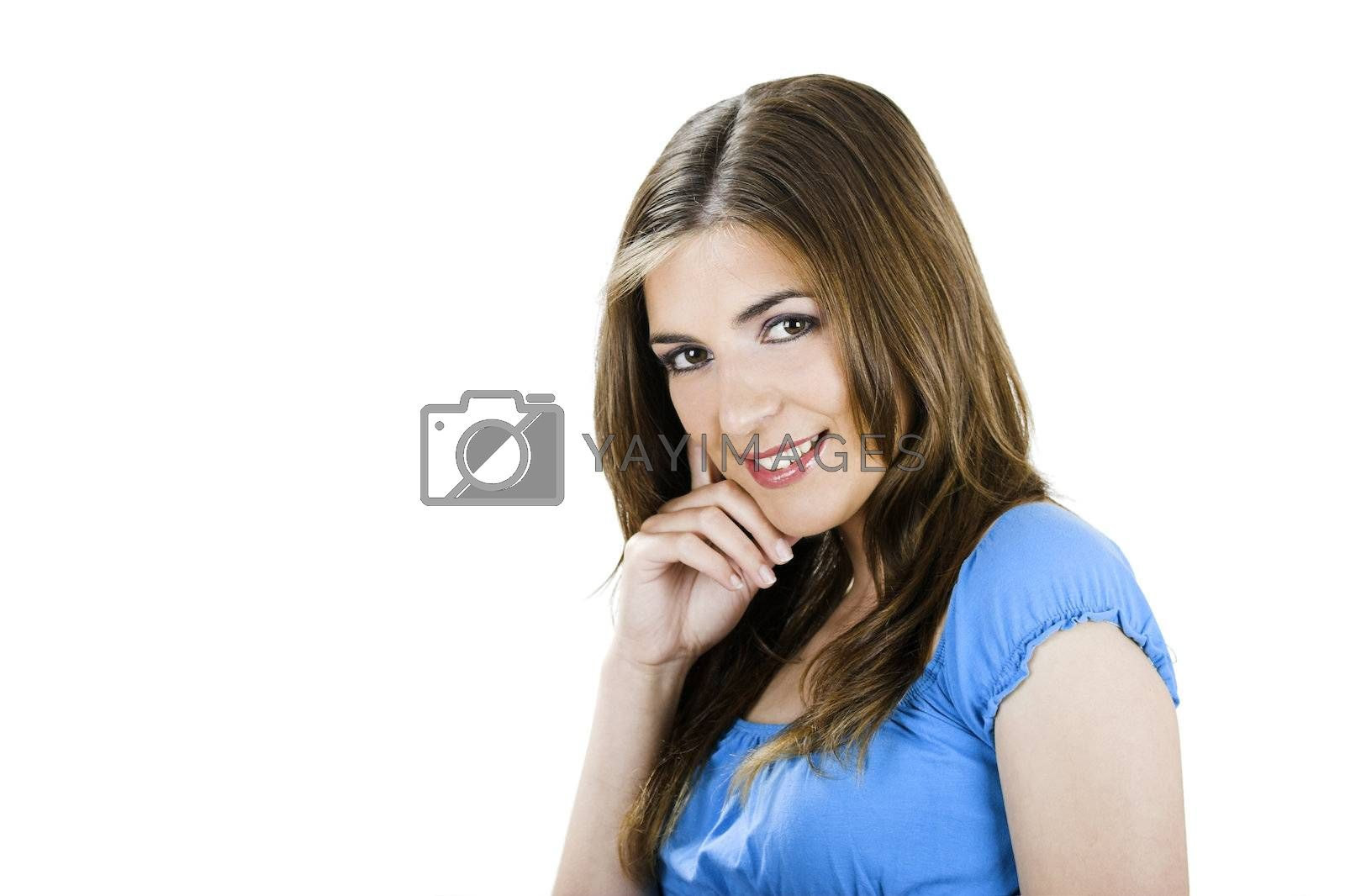 Close-up portrait of a beautiful young woman isolated on white
