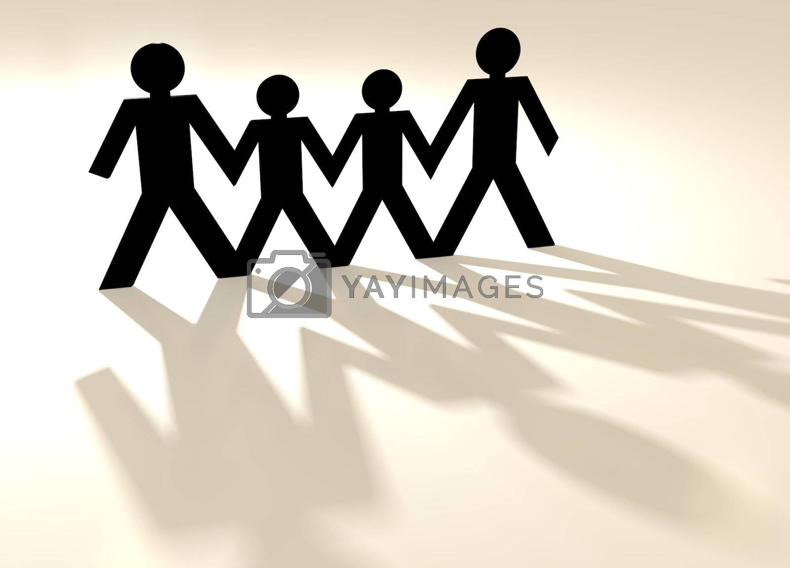 group of four people in a paper chain in same sex family