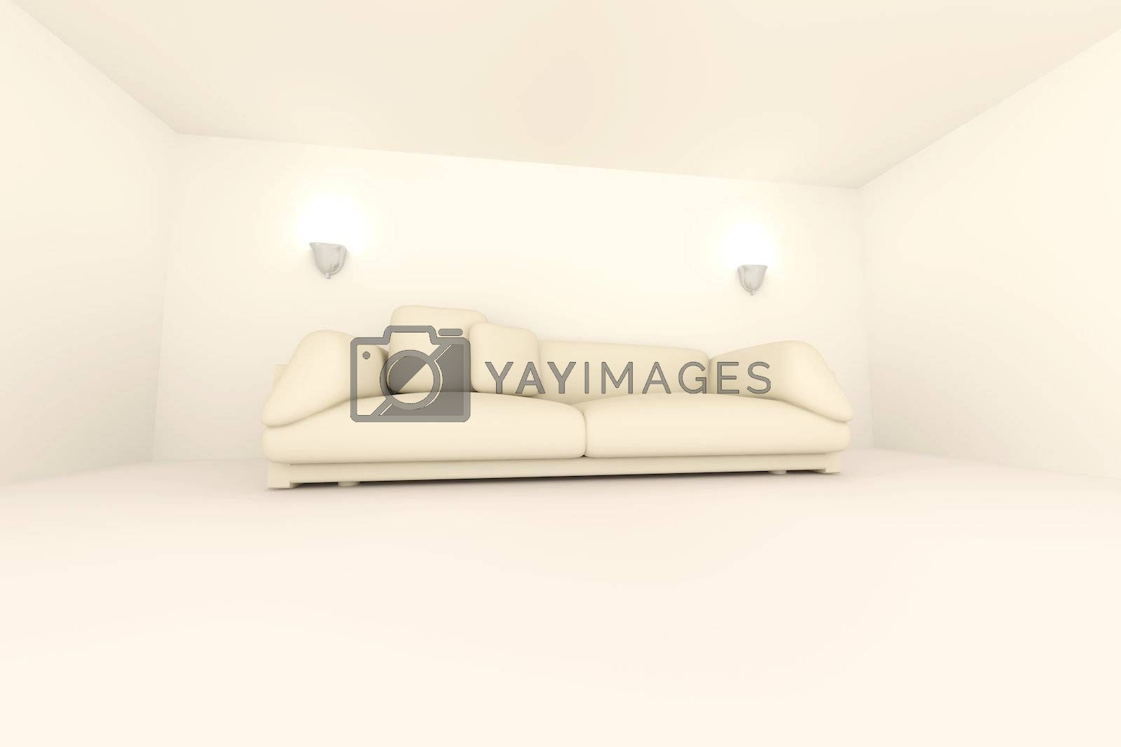 3D rendered Interior. A Sofa in a blue room.