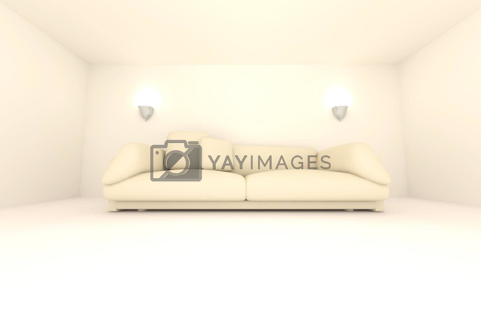 3D rendered Interior. A Sofa in a beige room.