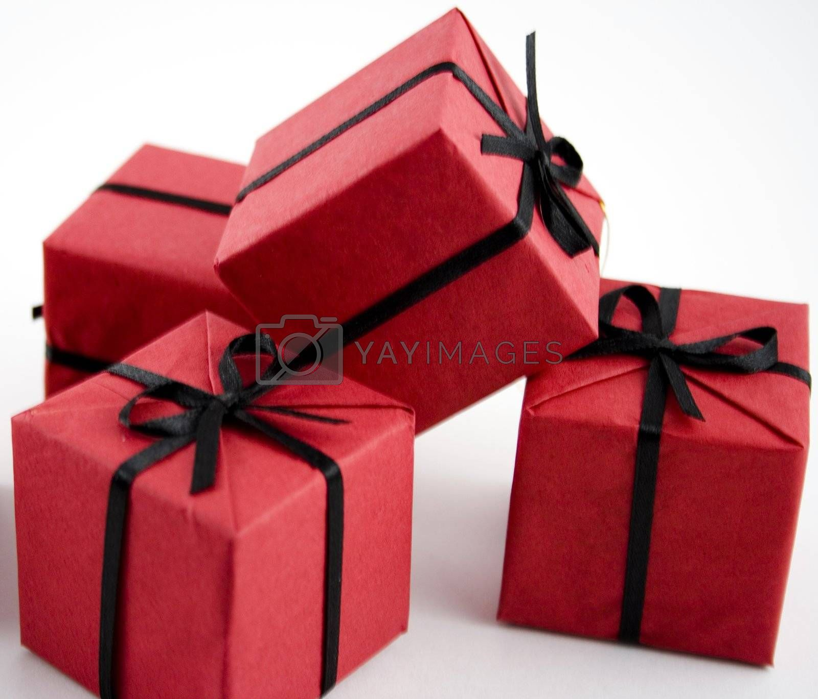 little red gifts isolated over white