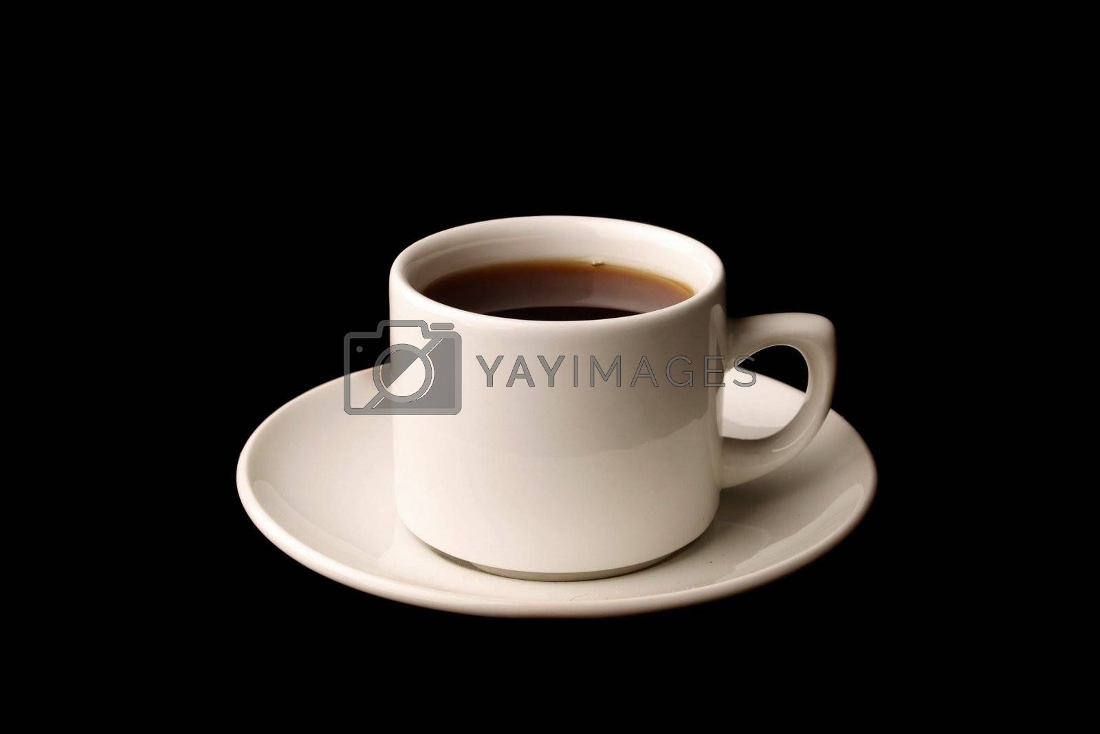 Cup of tea isolated over black background