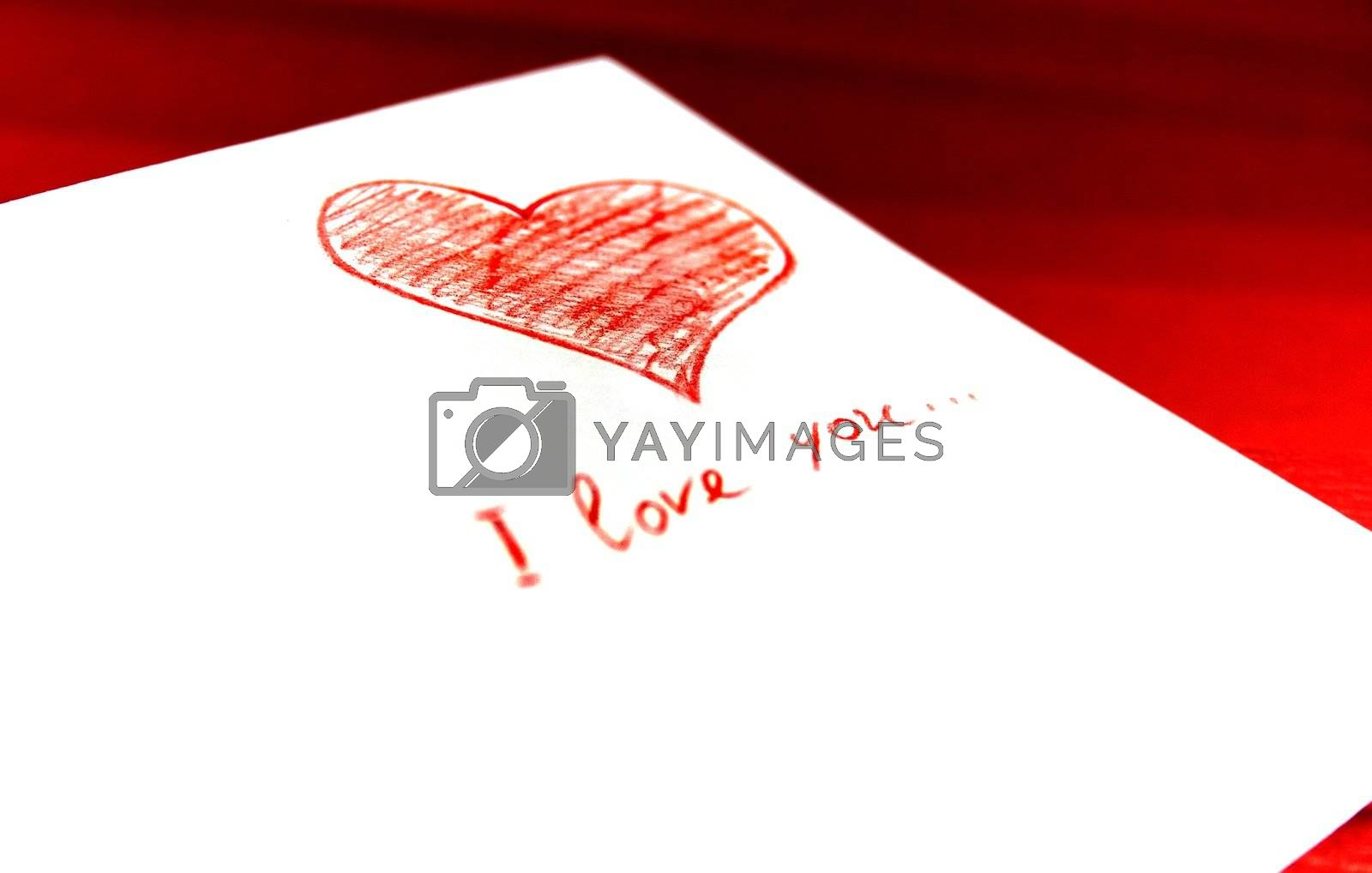 white envelope with red heart on red background