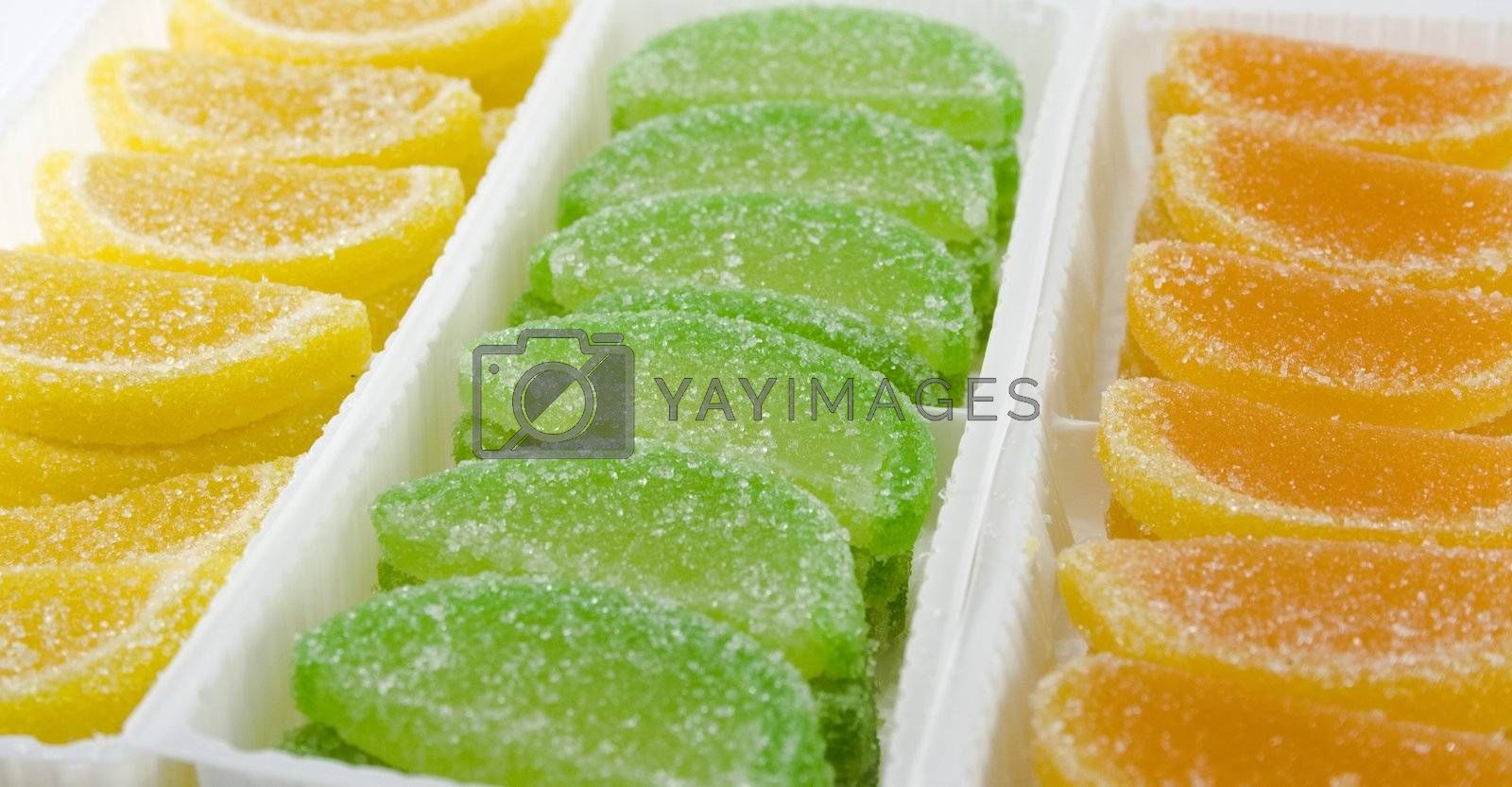 close-up of colourful fruit candies in boxes