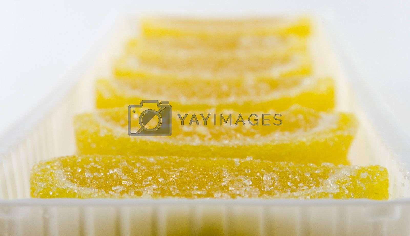 yellow candies in white box