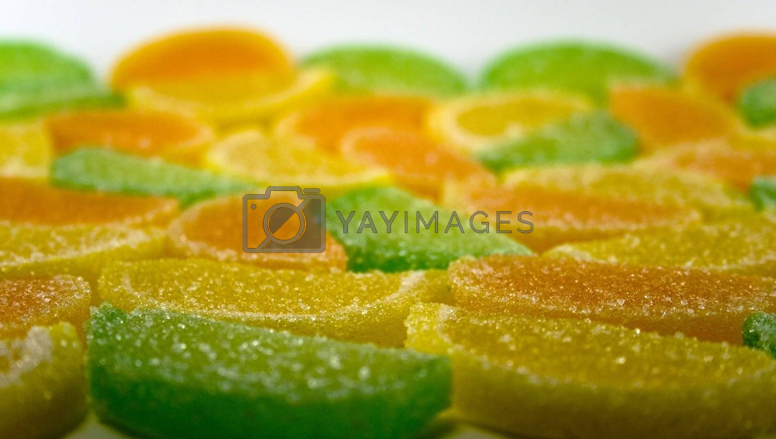 close-up of colourful fruit candies
