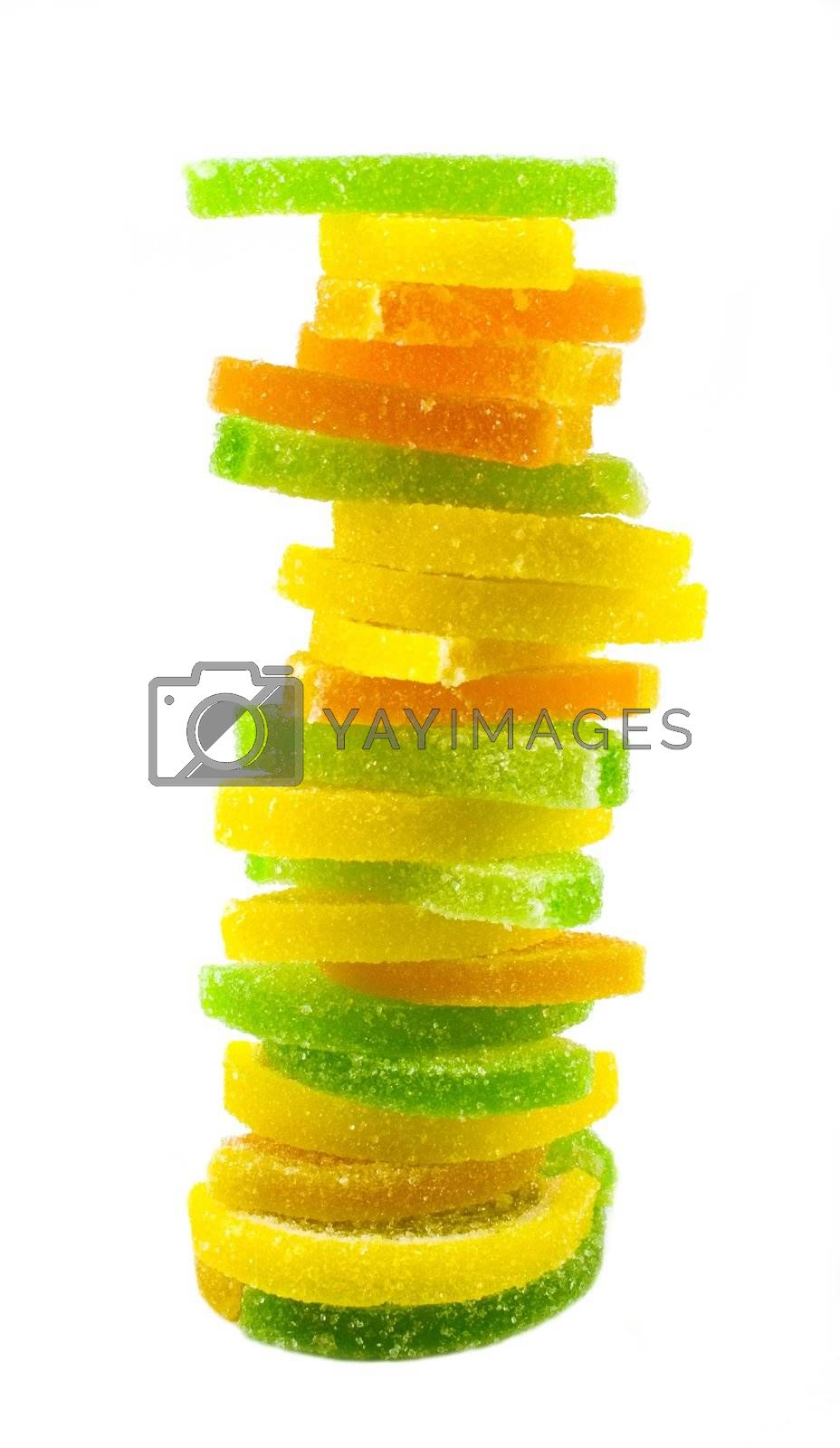 fruit candy pyramide isolated on white  background