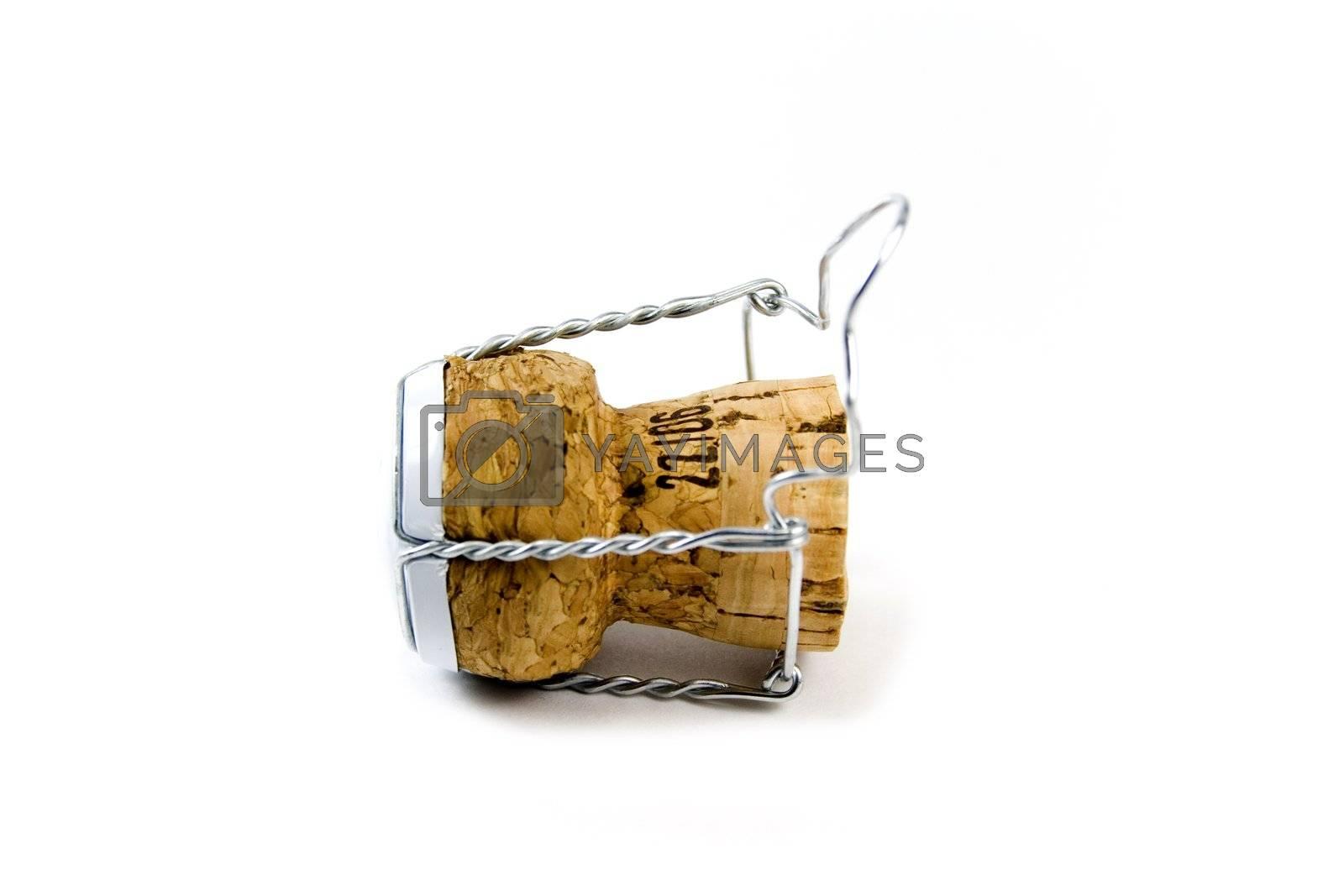 shampagne cork over white background