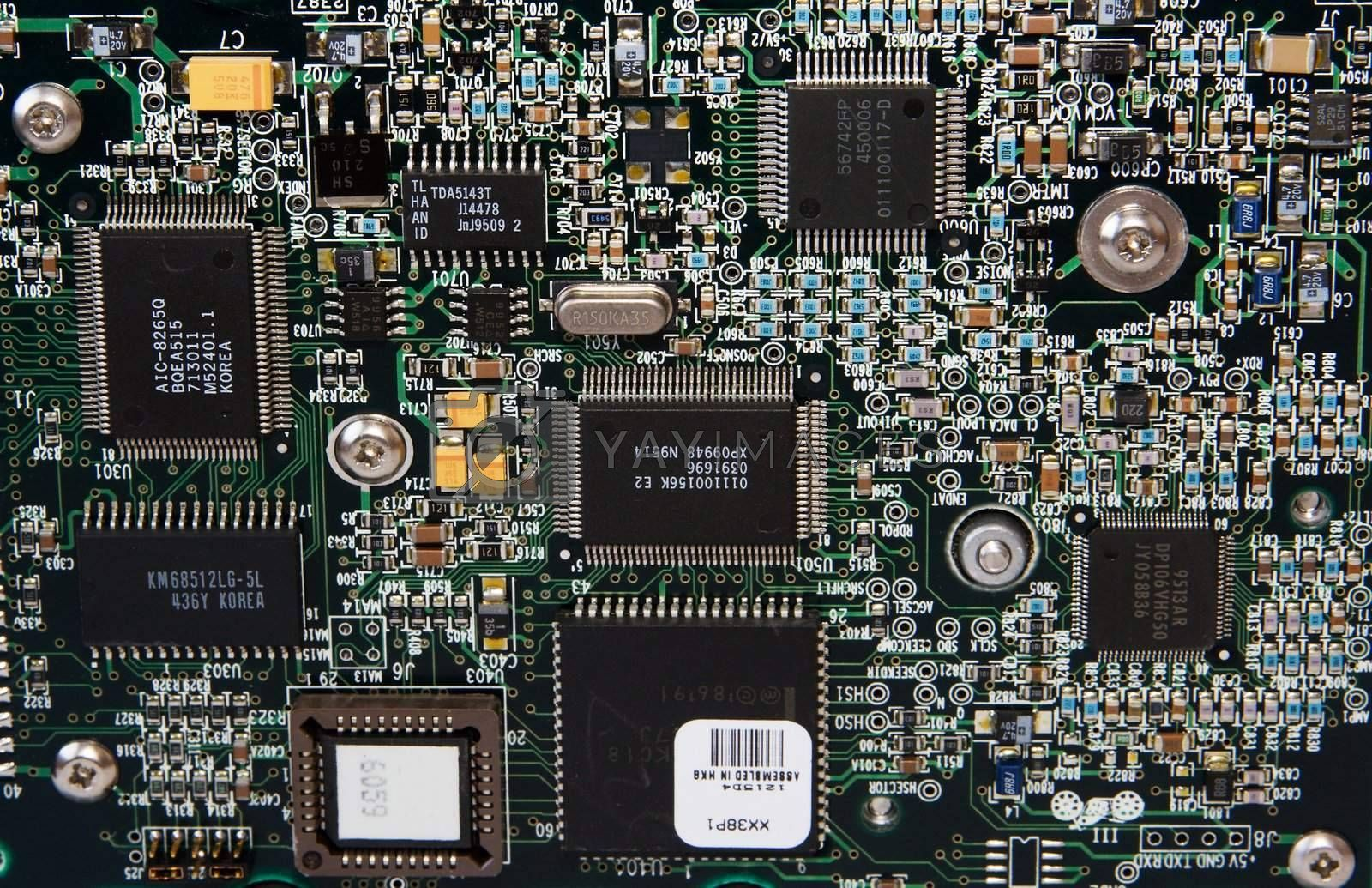 A close-up of an integrated circuit board