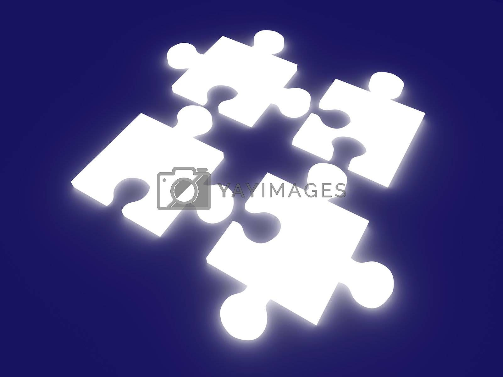 3D rendered Illustration. Glowing puzzle pieces.