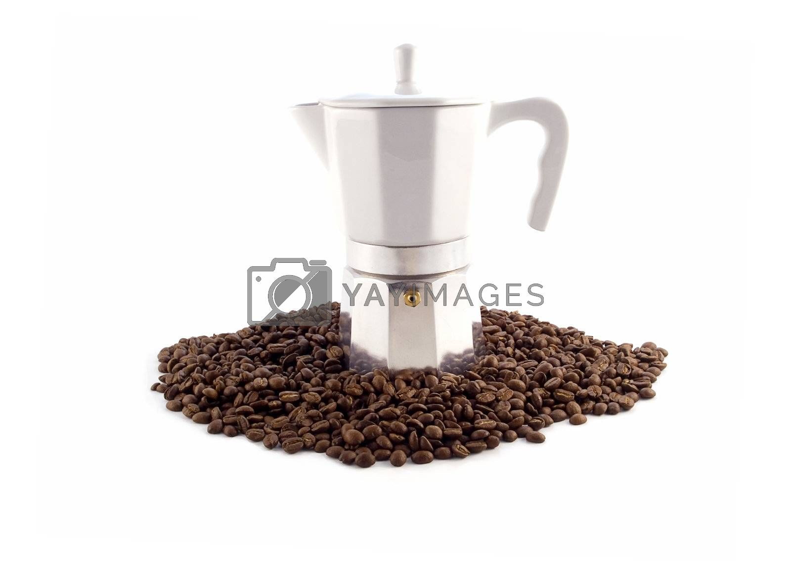 """traditional vacuum coffee maker """"Little Man"""" isolated on white"""