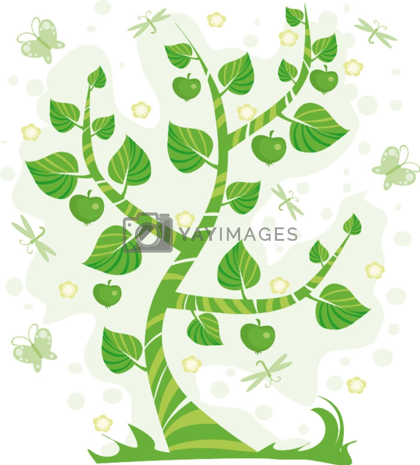 Green tree with apples, flowers and dragonflies