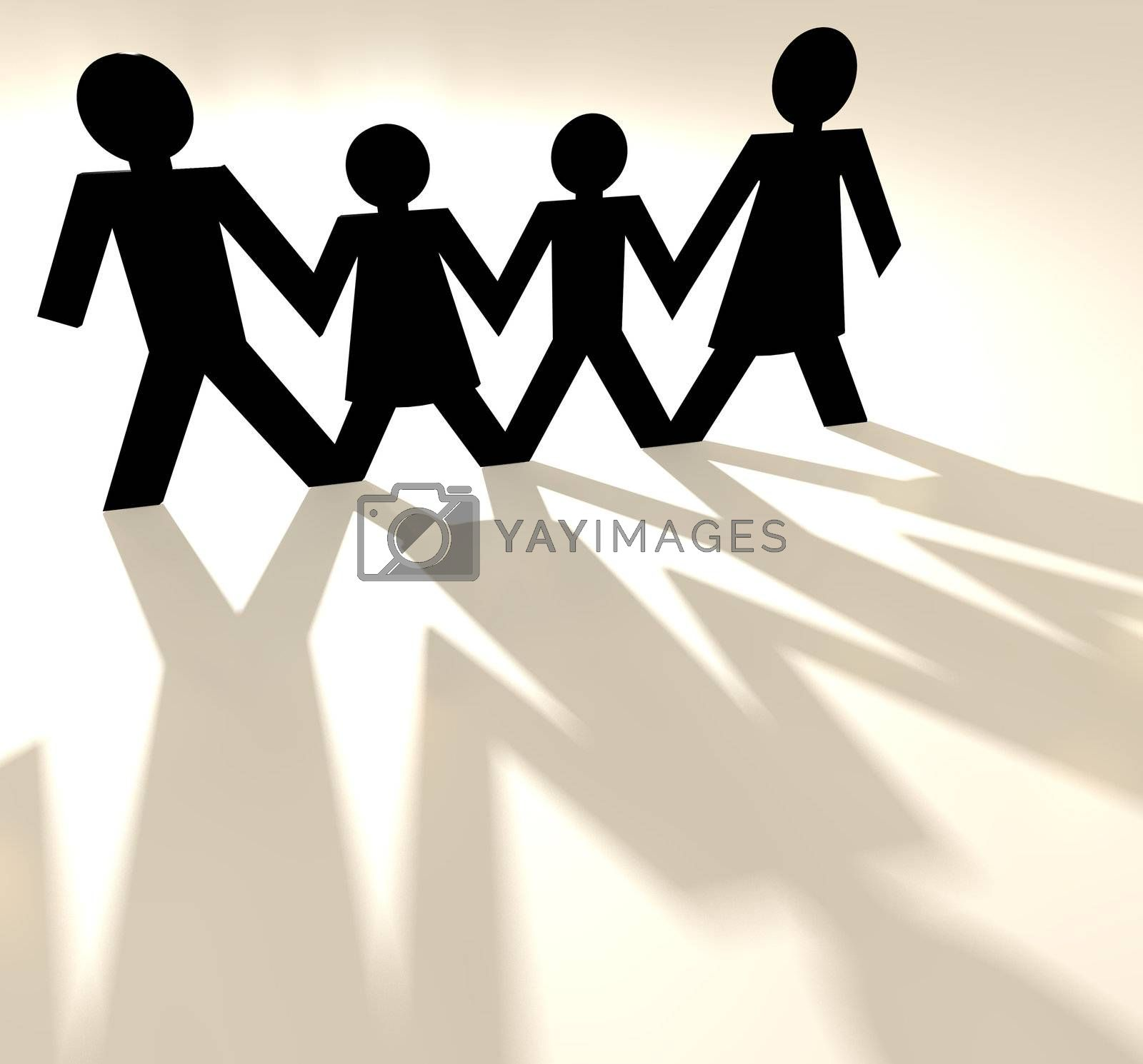 Four people family group holding hands as paper cut out