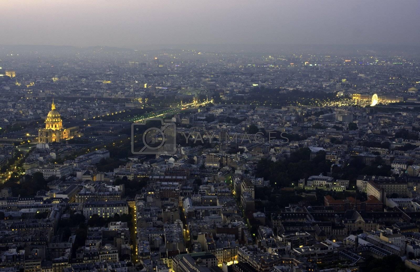 Night view at Paris from tour de Montparnasse building