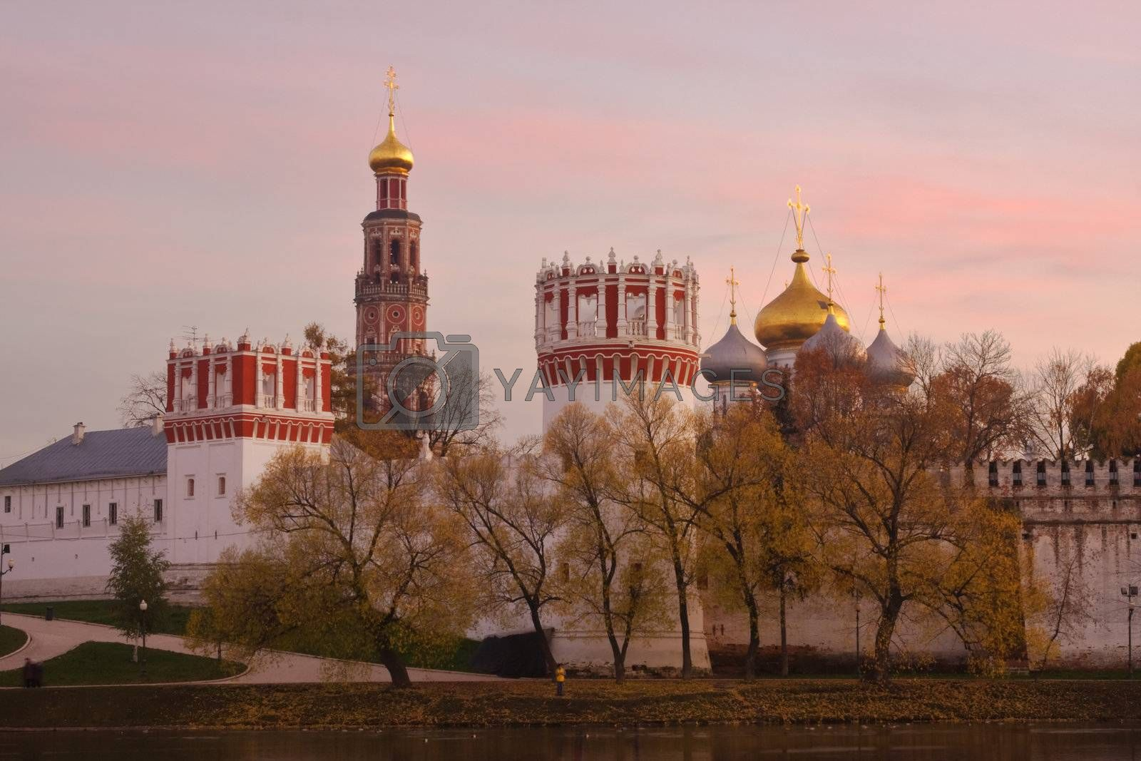 Novodevichiy monastery in Moscow (Russia) at sunset