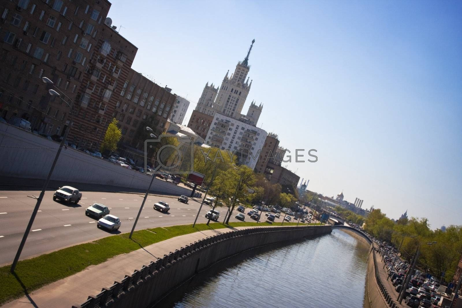 Streets of Moscow (Russia) in sunny spring day