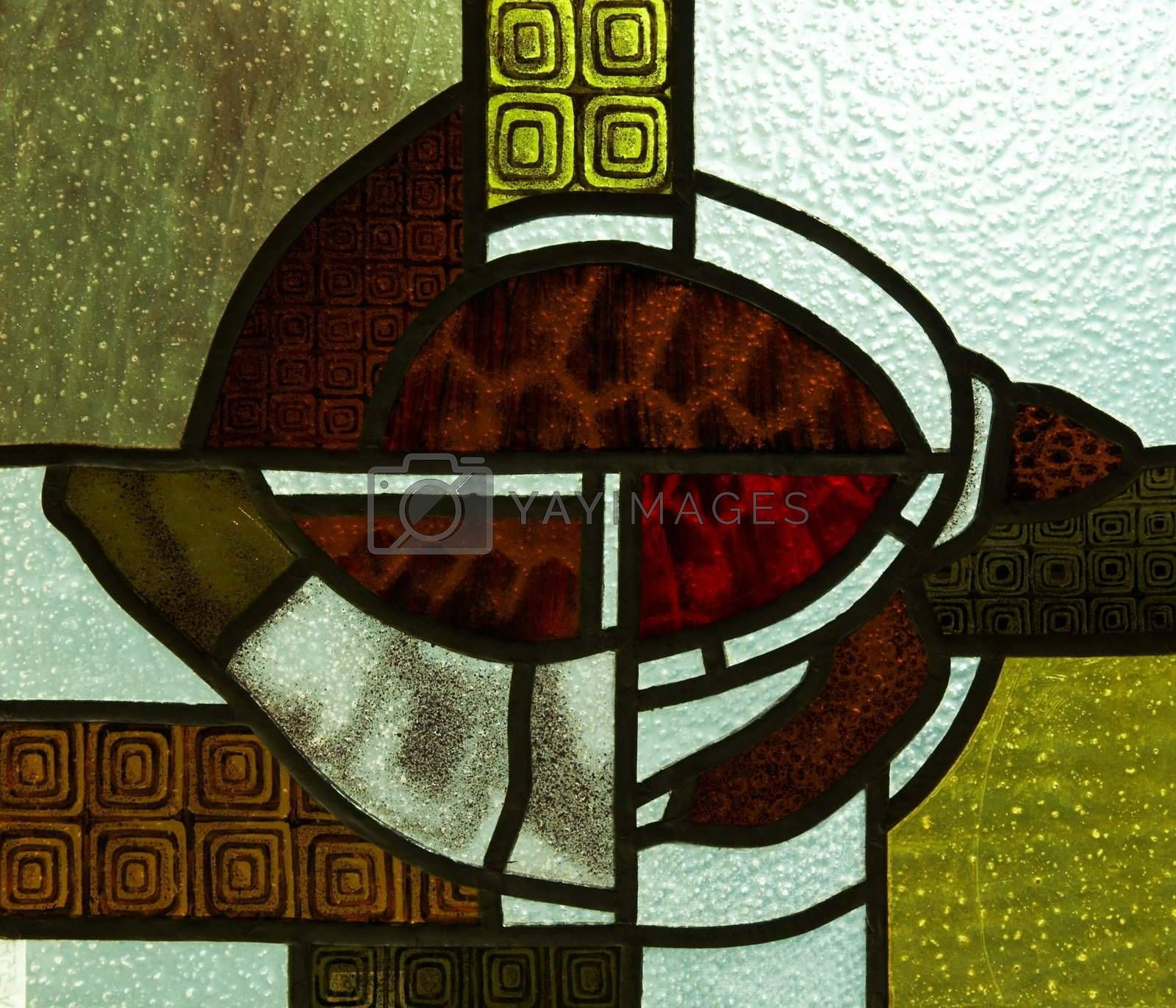 Fragment of beautiful stained-glass window