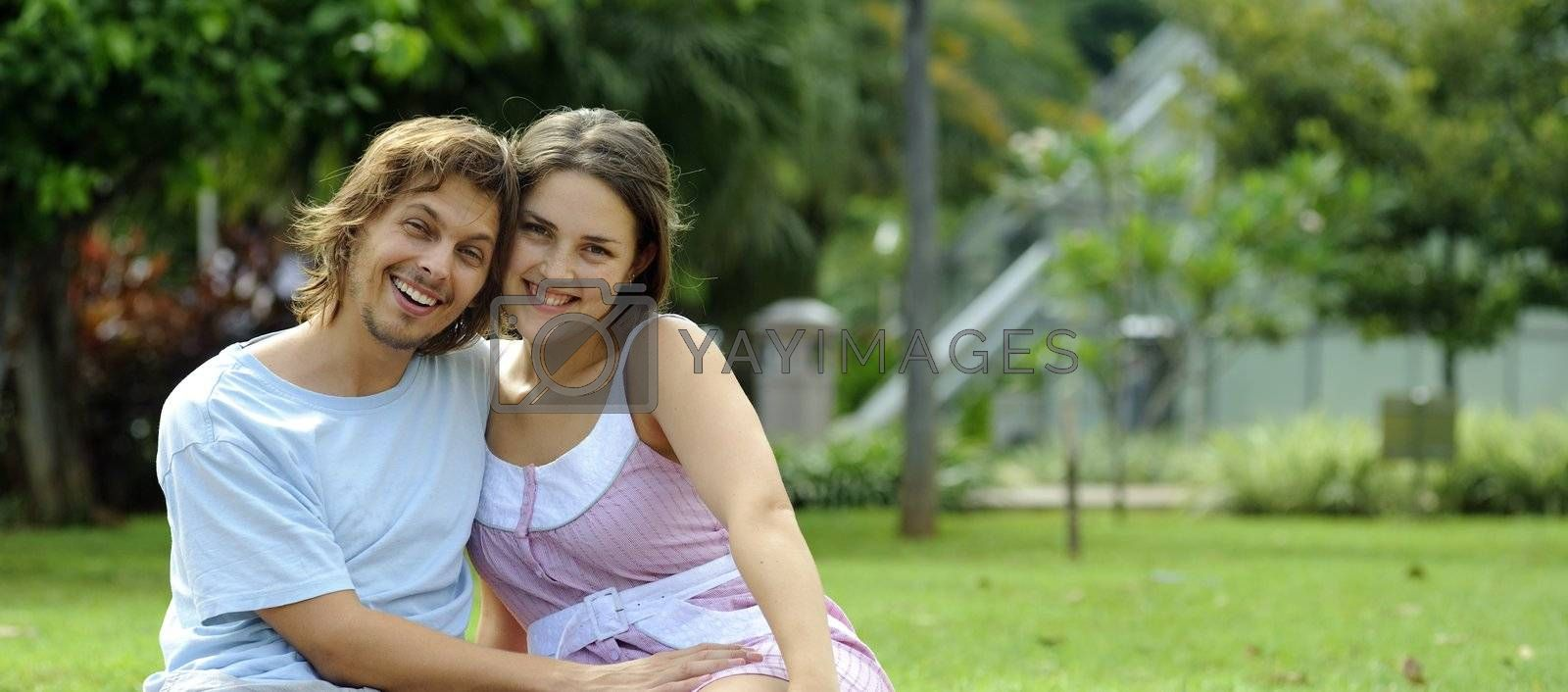 Couple are very happy together in the park