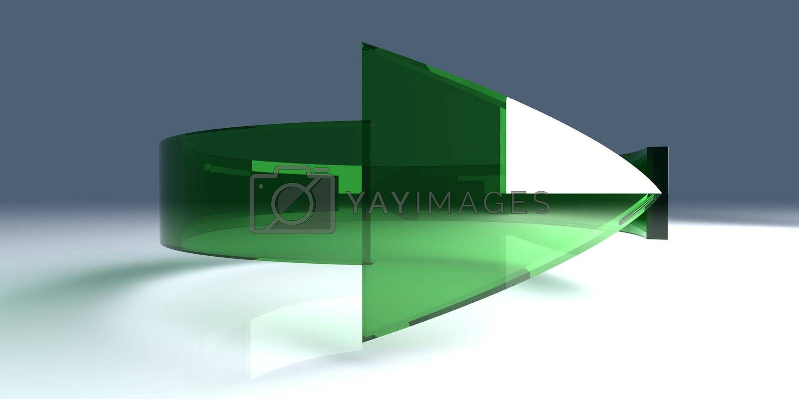 3D rendered Illustration. An arrow symbolizing an repeating process such as recycling (ecological concept) or reload of data.