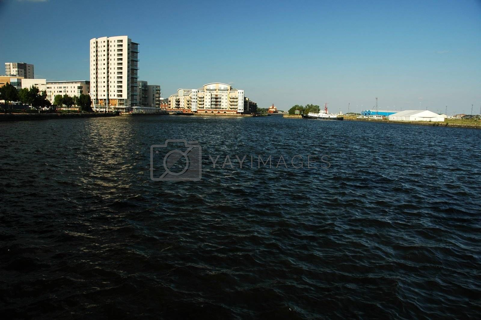 cardiff bay with white high building, horizontally framed shot