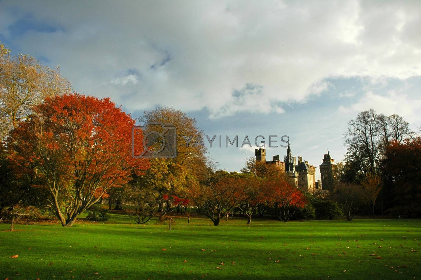 Bute park in cardiff with castle and autumn colours