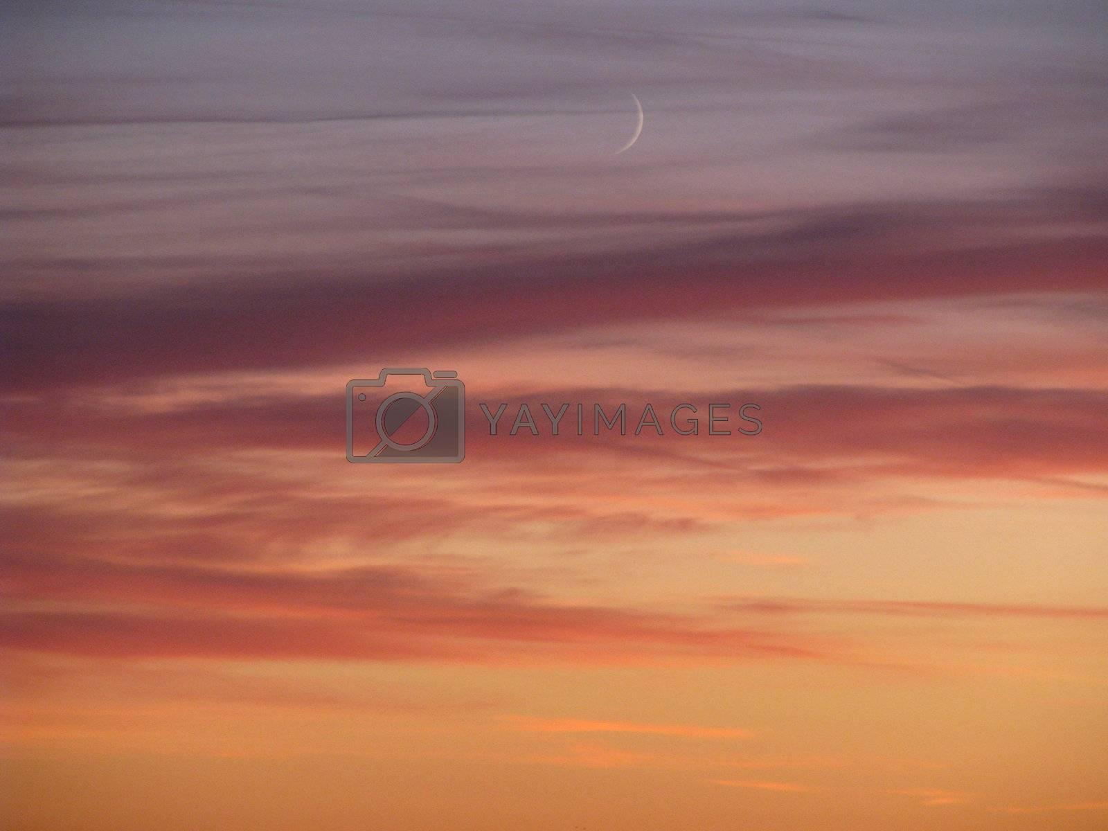 Moonshine in amazing orange sky