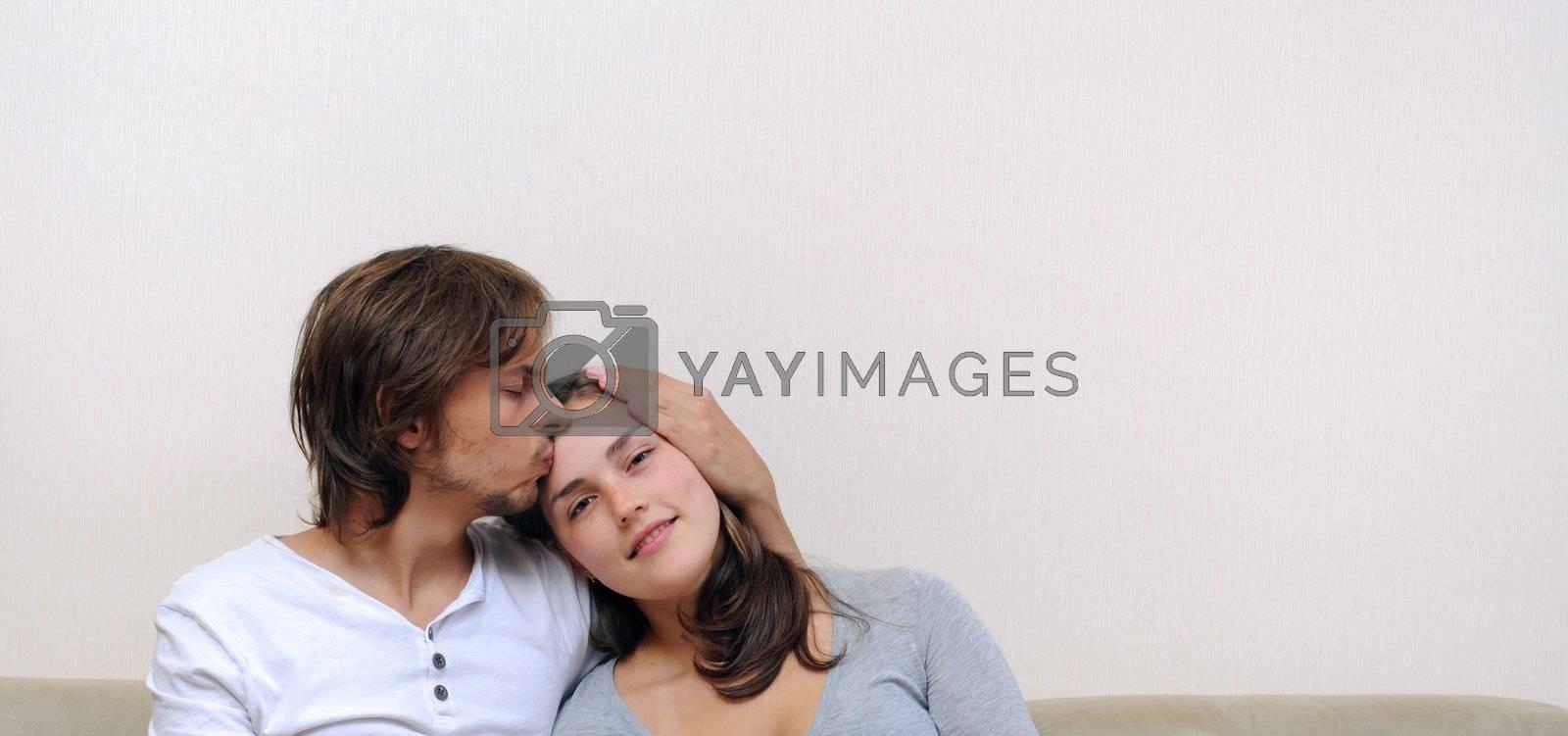 Boyfriend shows love to his girlfriend at home