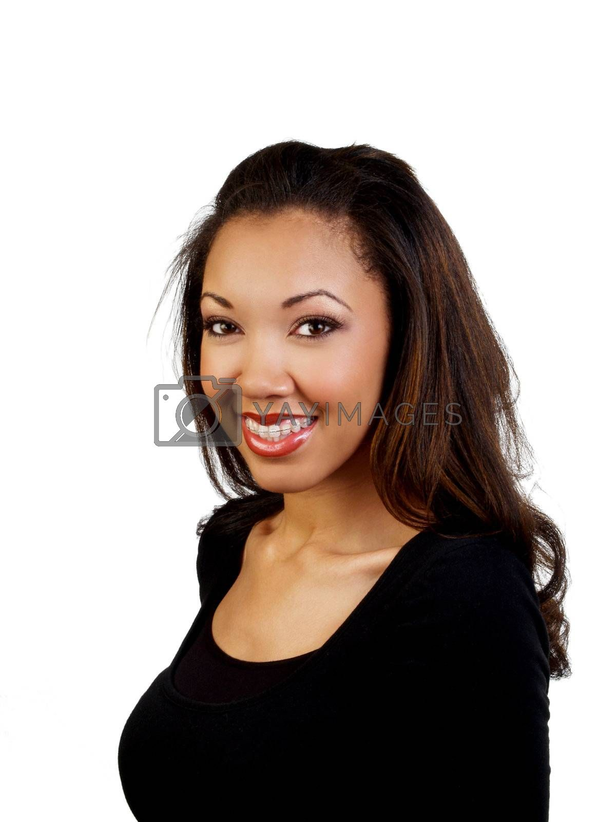 Attractive young black woman smiling with braces
