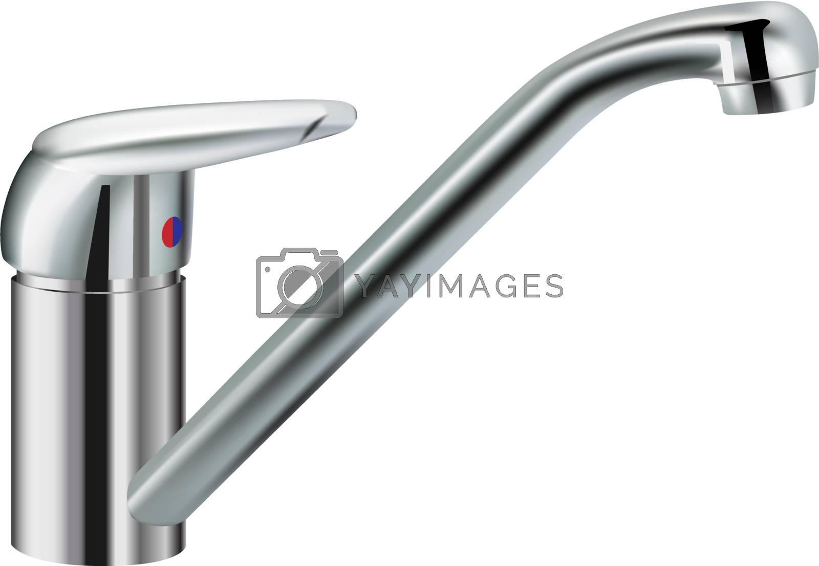 silver metallic water tap on white background