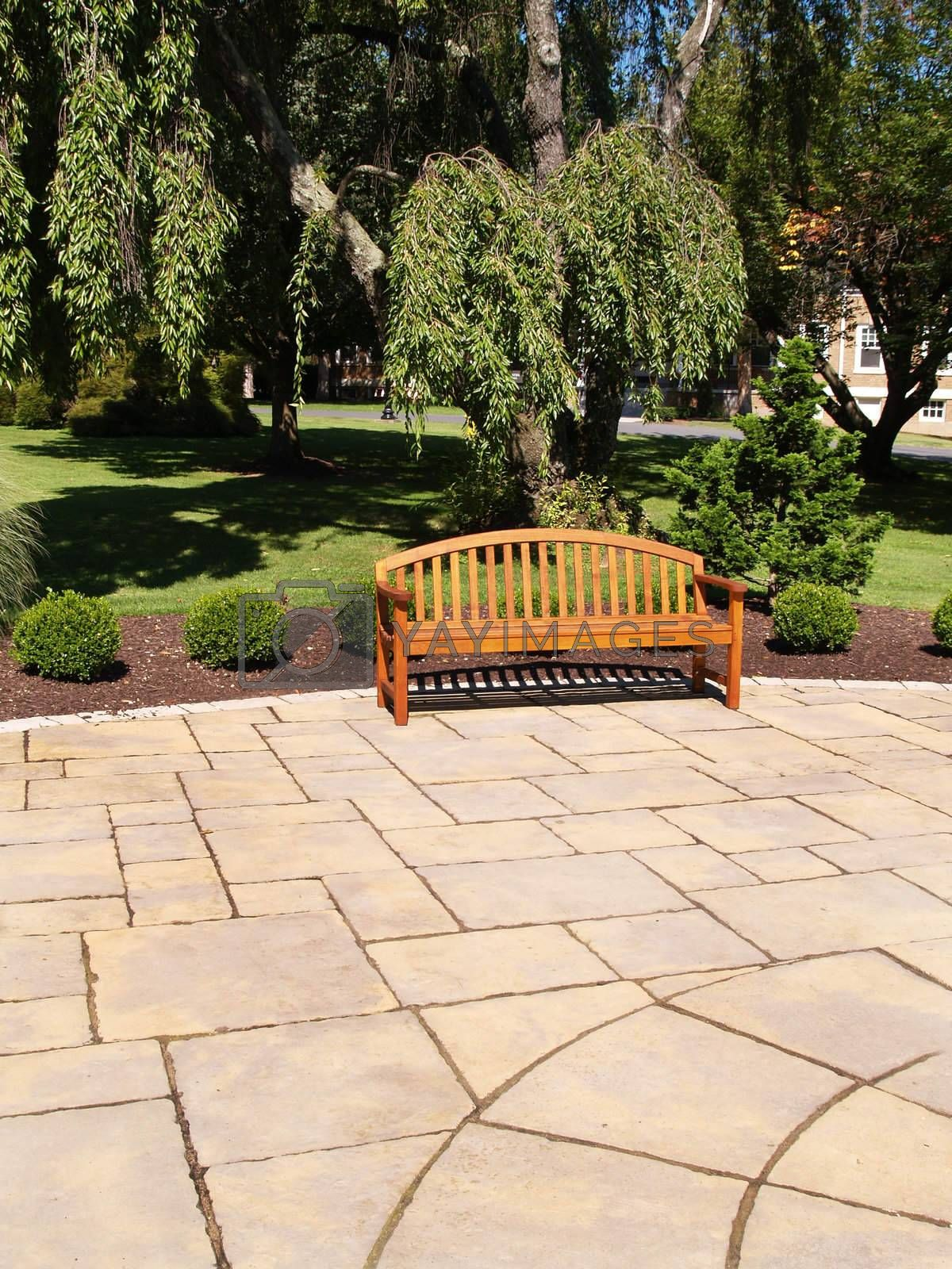 Royalty free image of one wood bench by cfarmer
