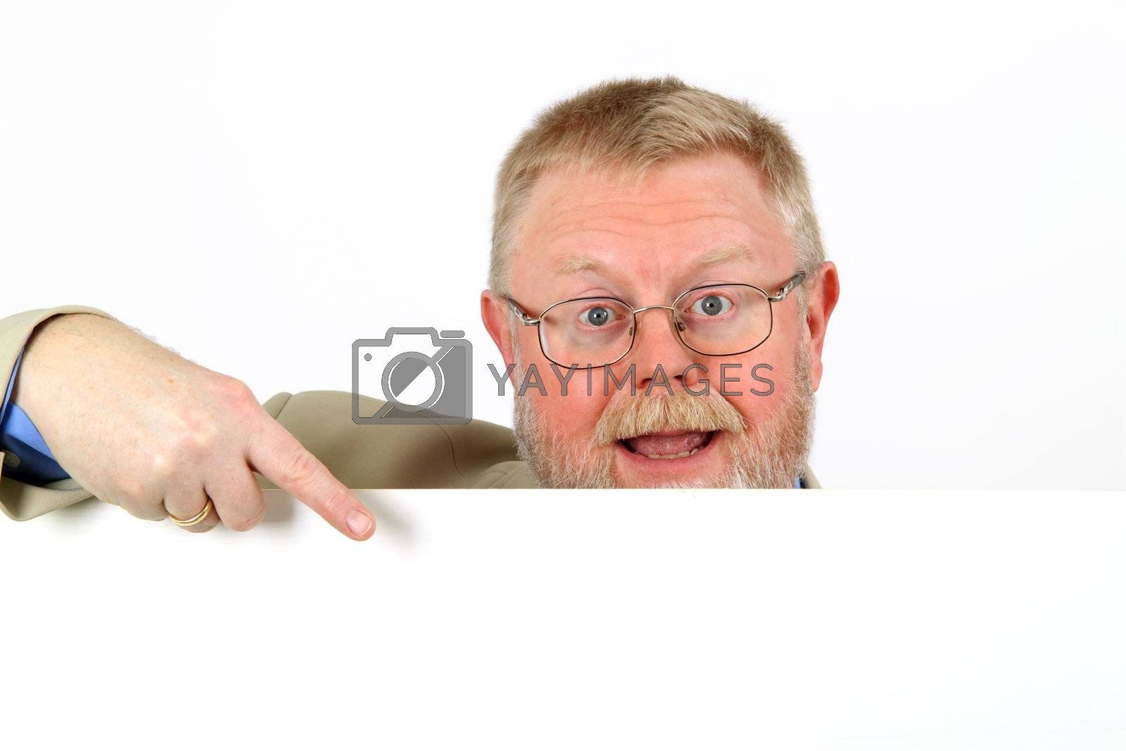 Businessman showing a blank clipboard, over a white background