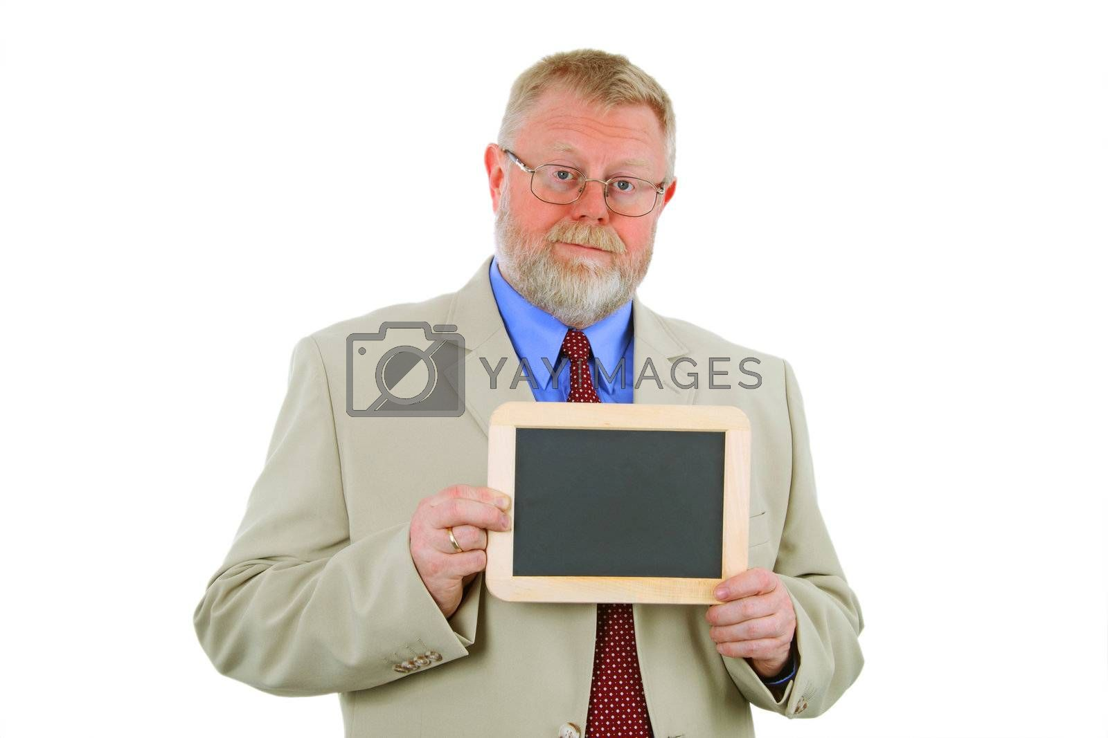 Businessman is holding a chalkboard- place for text, isolated on white background.