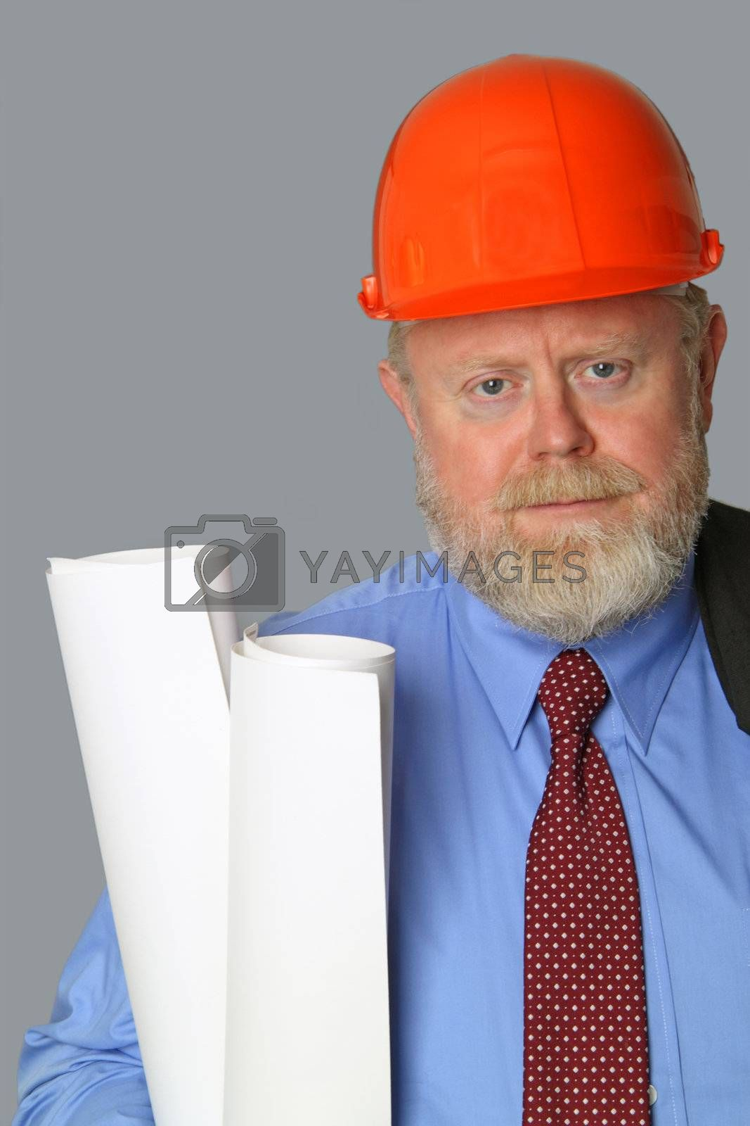 Architect with blueprints and hard hat on grey background