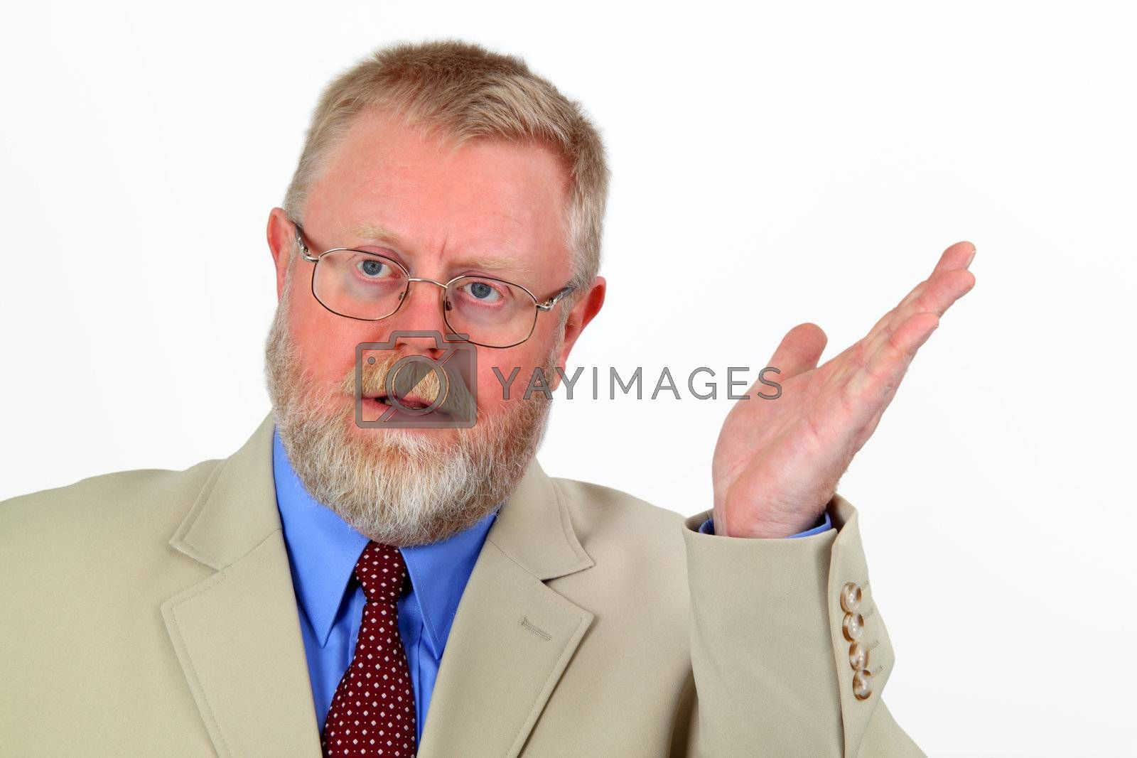 Hand signal from a senior businessman isolated on white background