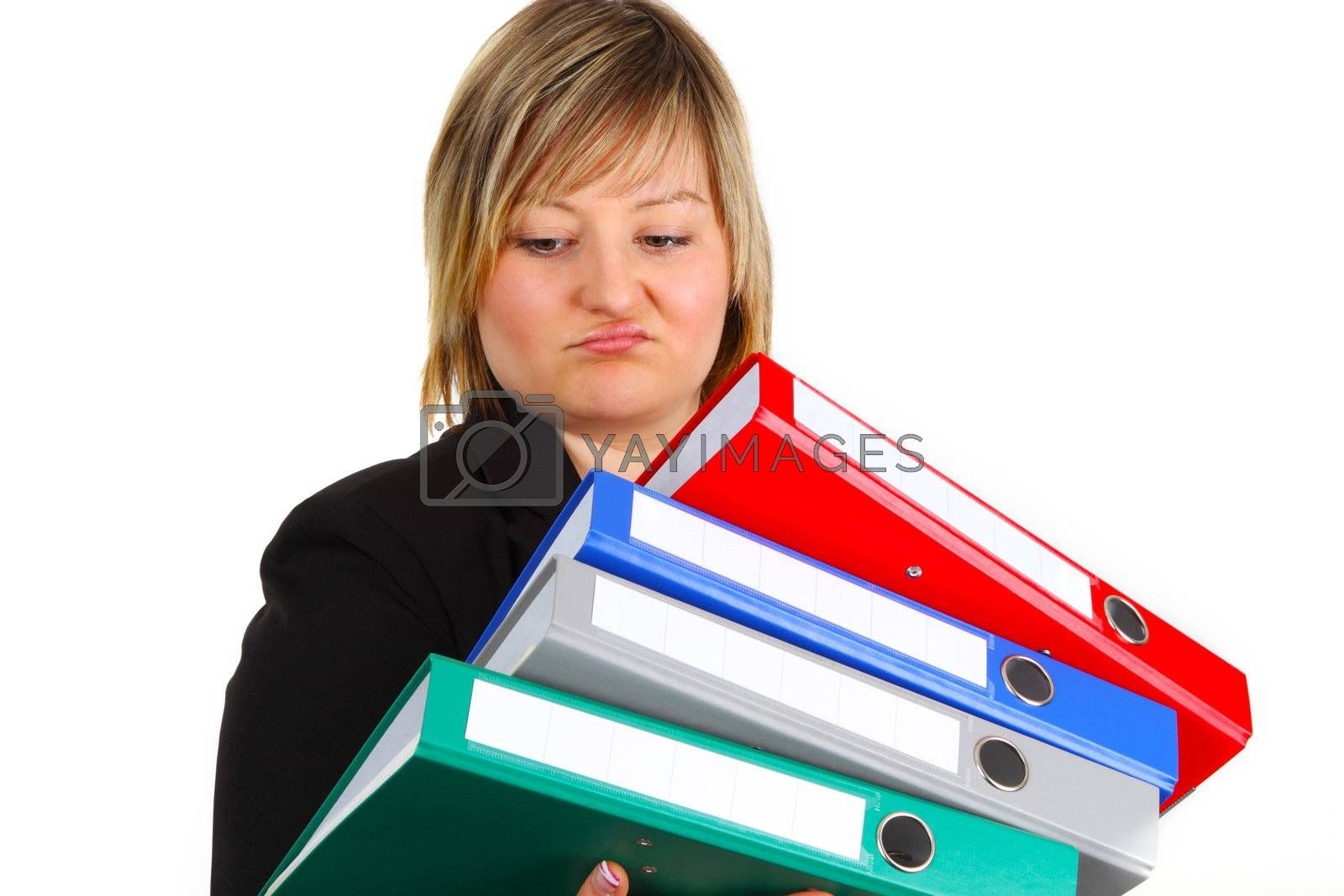 Young woman holding folders on white background