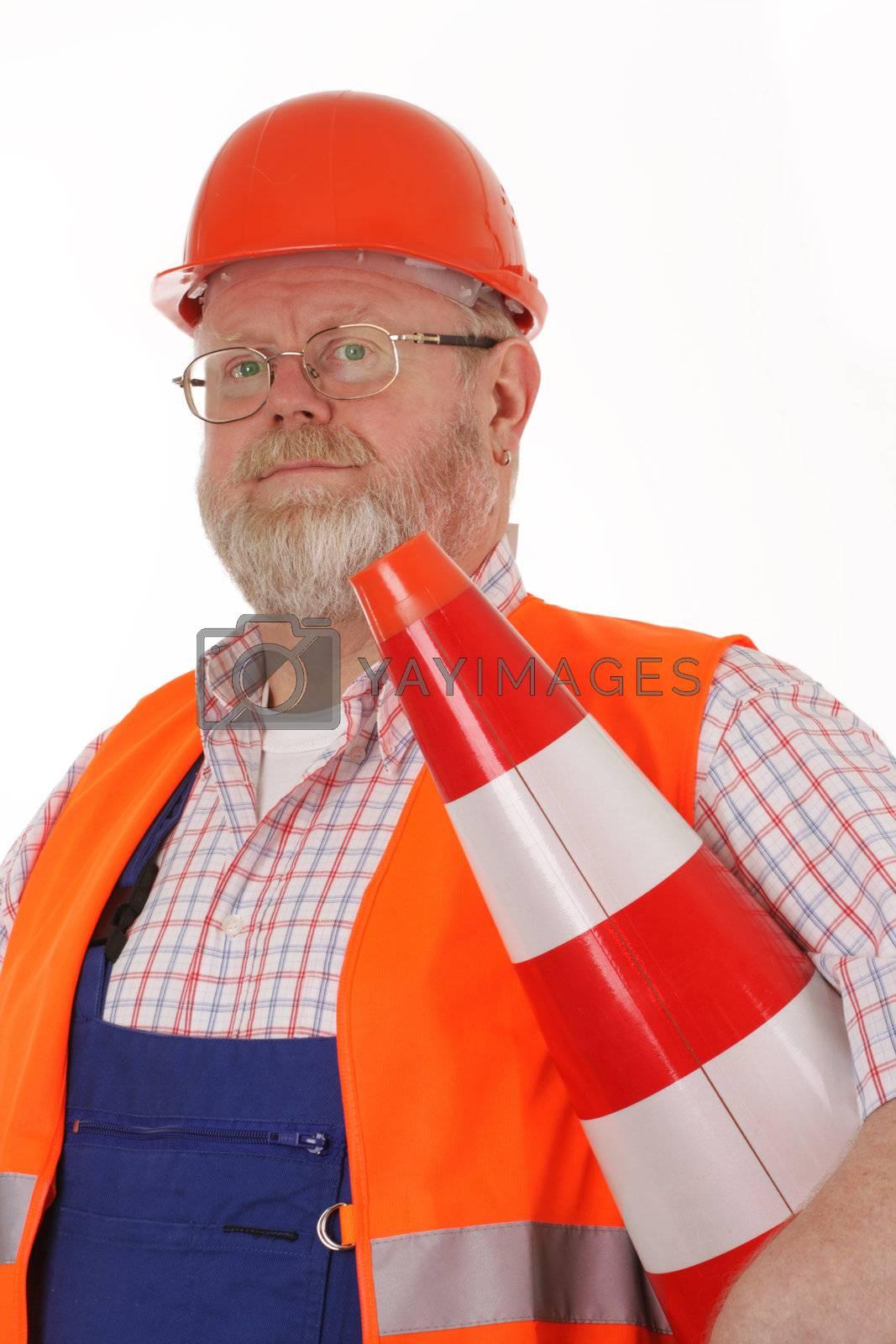 Foreman with pylon on white background