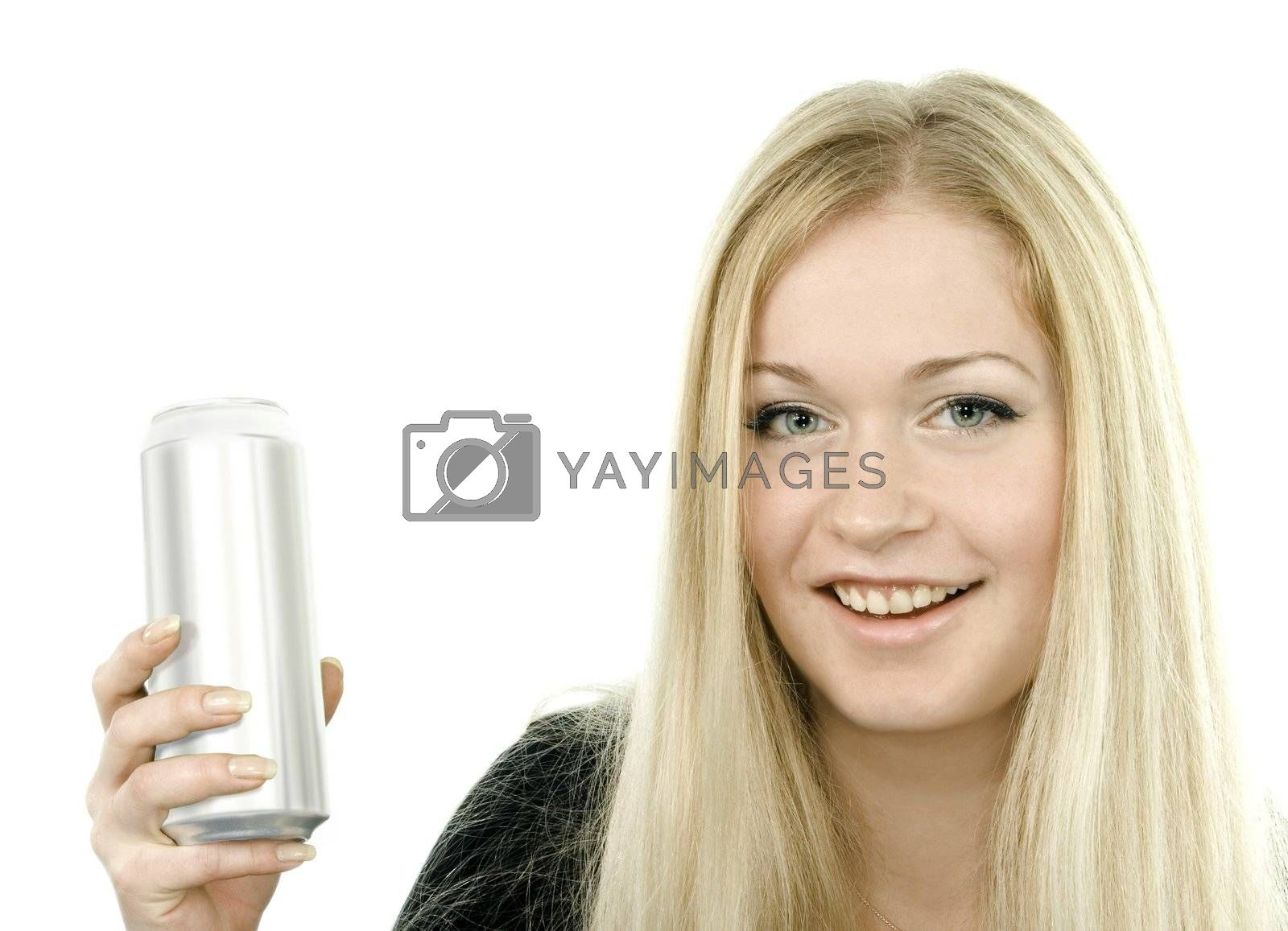 Young woman with tin can over white