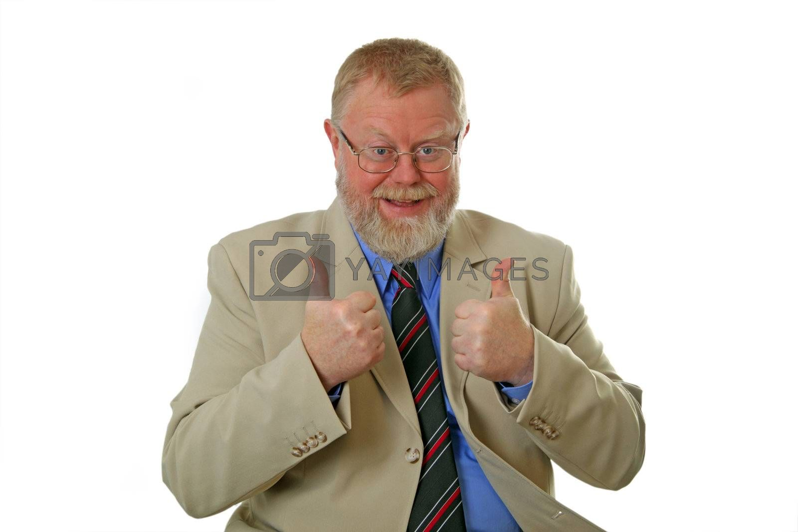 Thumbs up business man on white background